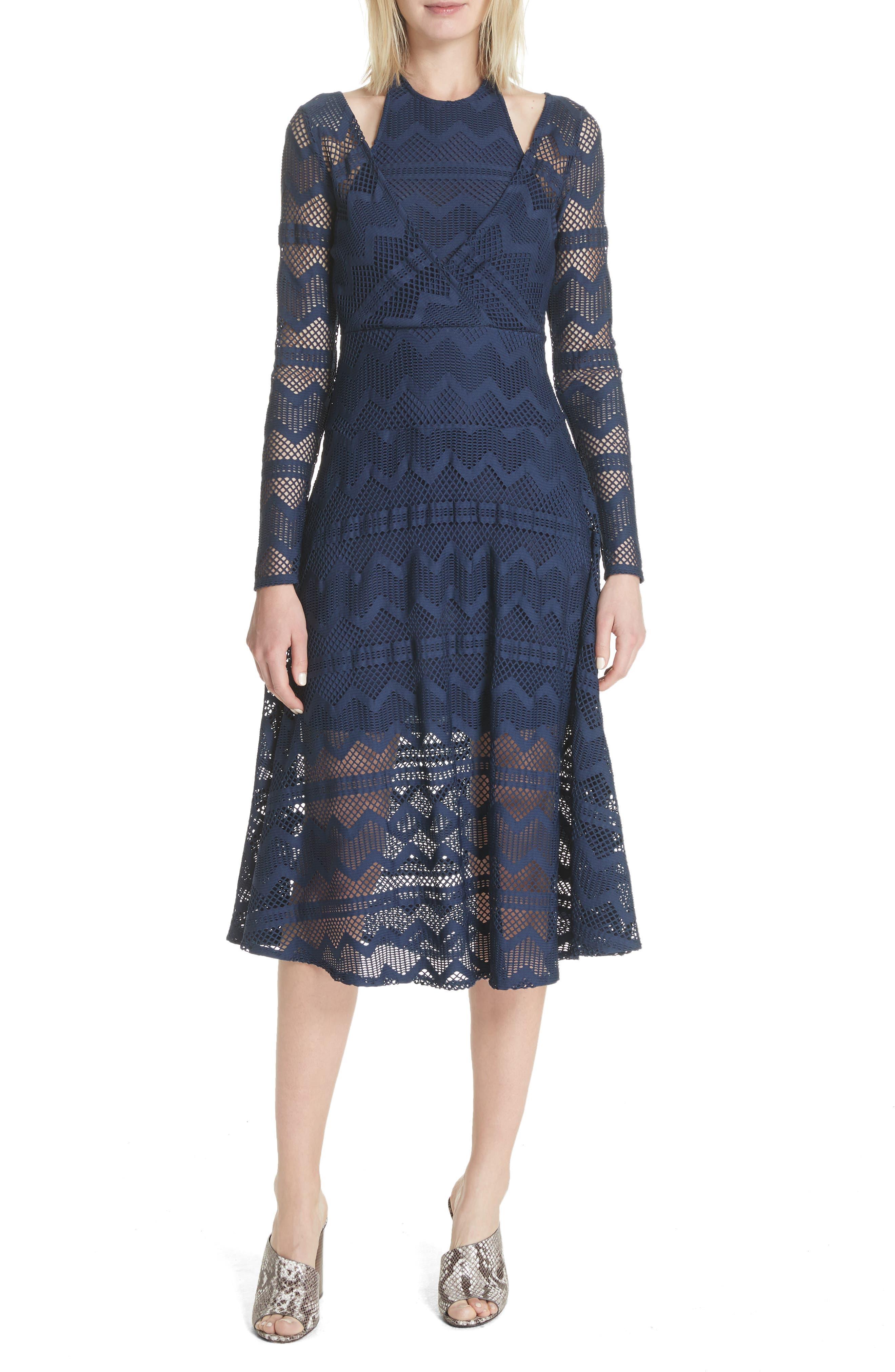 Surplice Lace Midi Dress,                         Main,                         color, India Ink