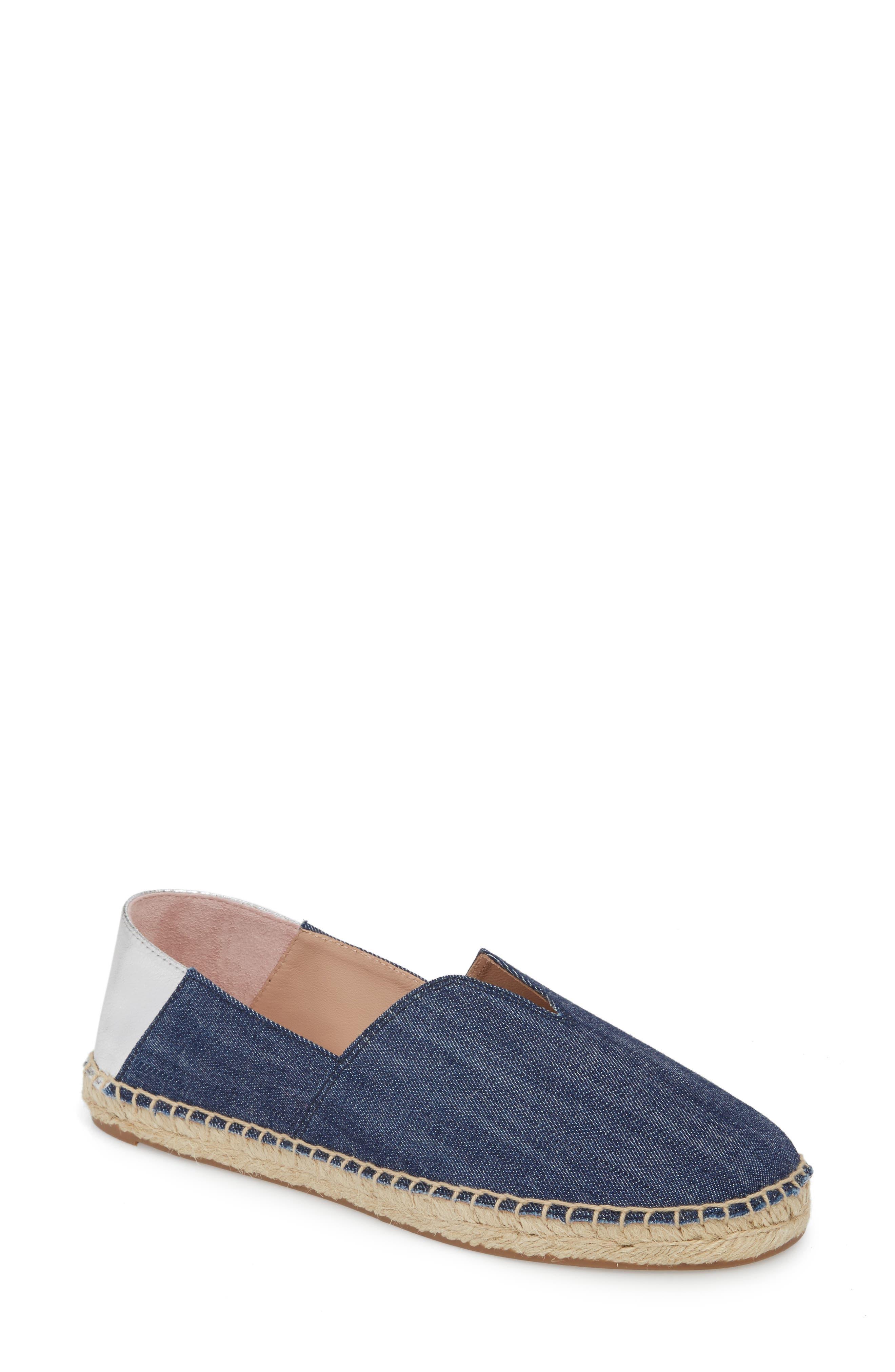 Ilene Slip-On Flat,                         Main,                         color, Denim Fabric