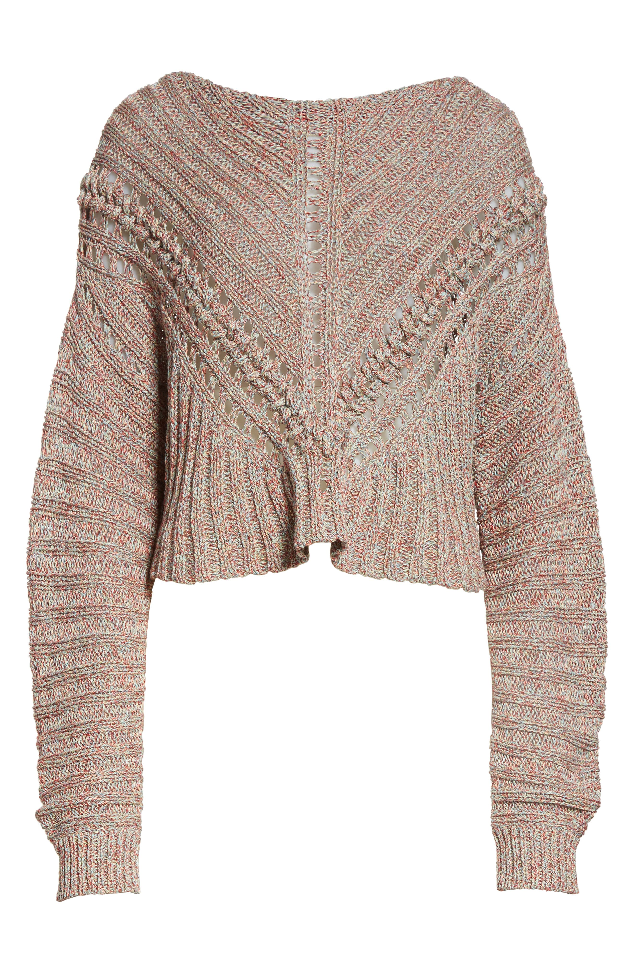Roman Pointelle Ribbed Sweater,                             Alternate thumbnail 7, color,                             Pink
