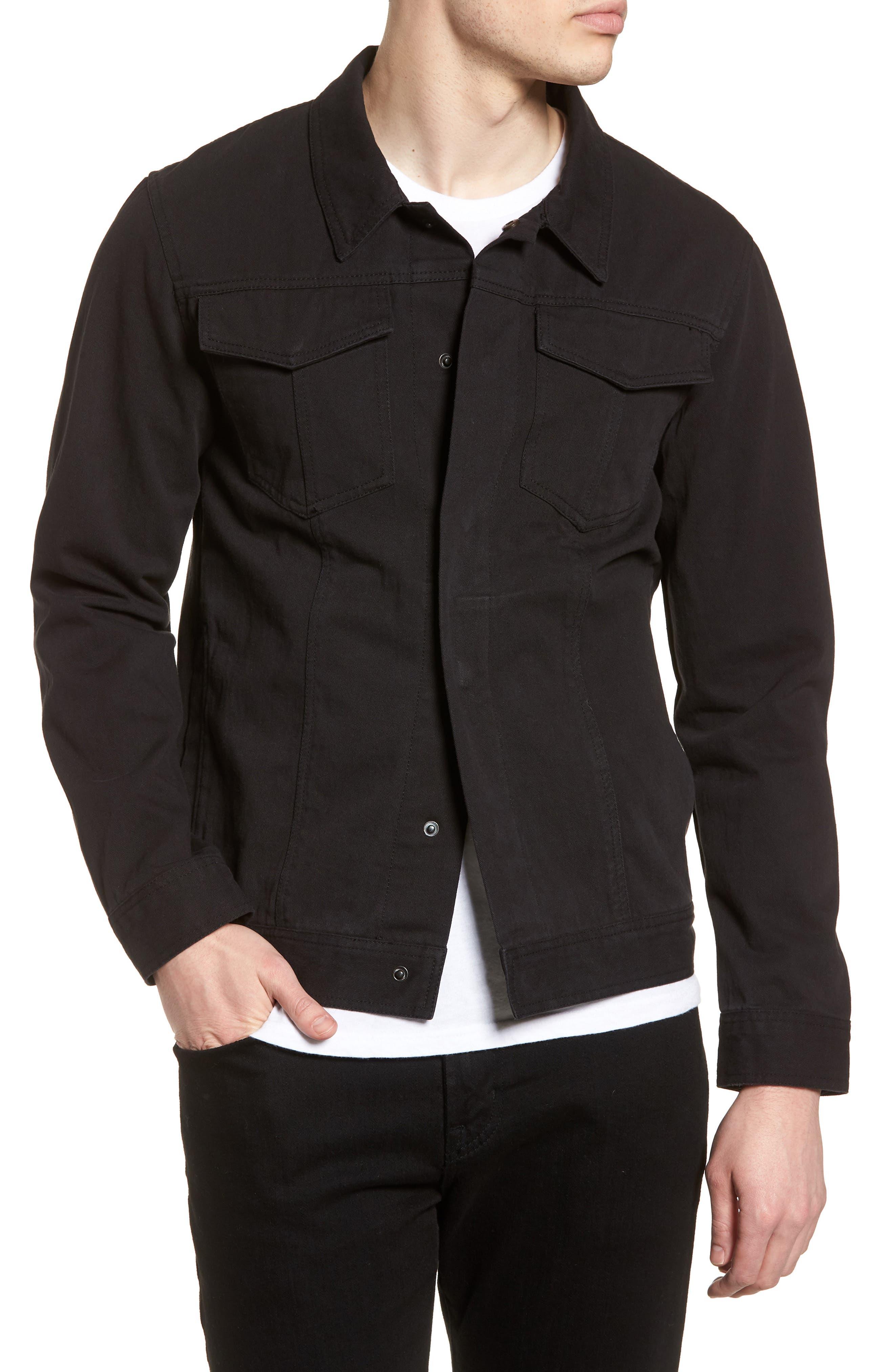 Twill Trucker Jacket,                         Main,                         color, Black