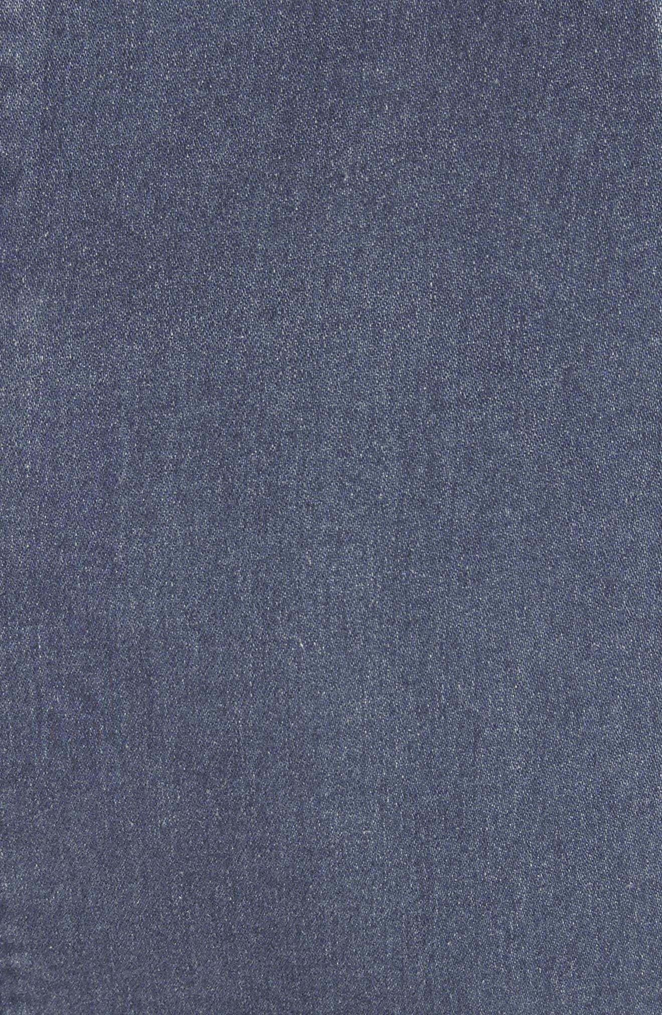 'Modern Femme' Denim Miniskirt,                             Alternate thumbnail 5, color,                             Blue