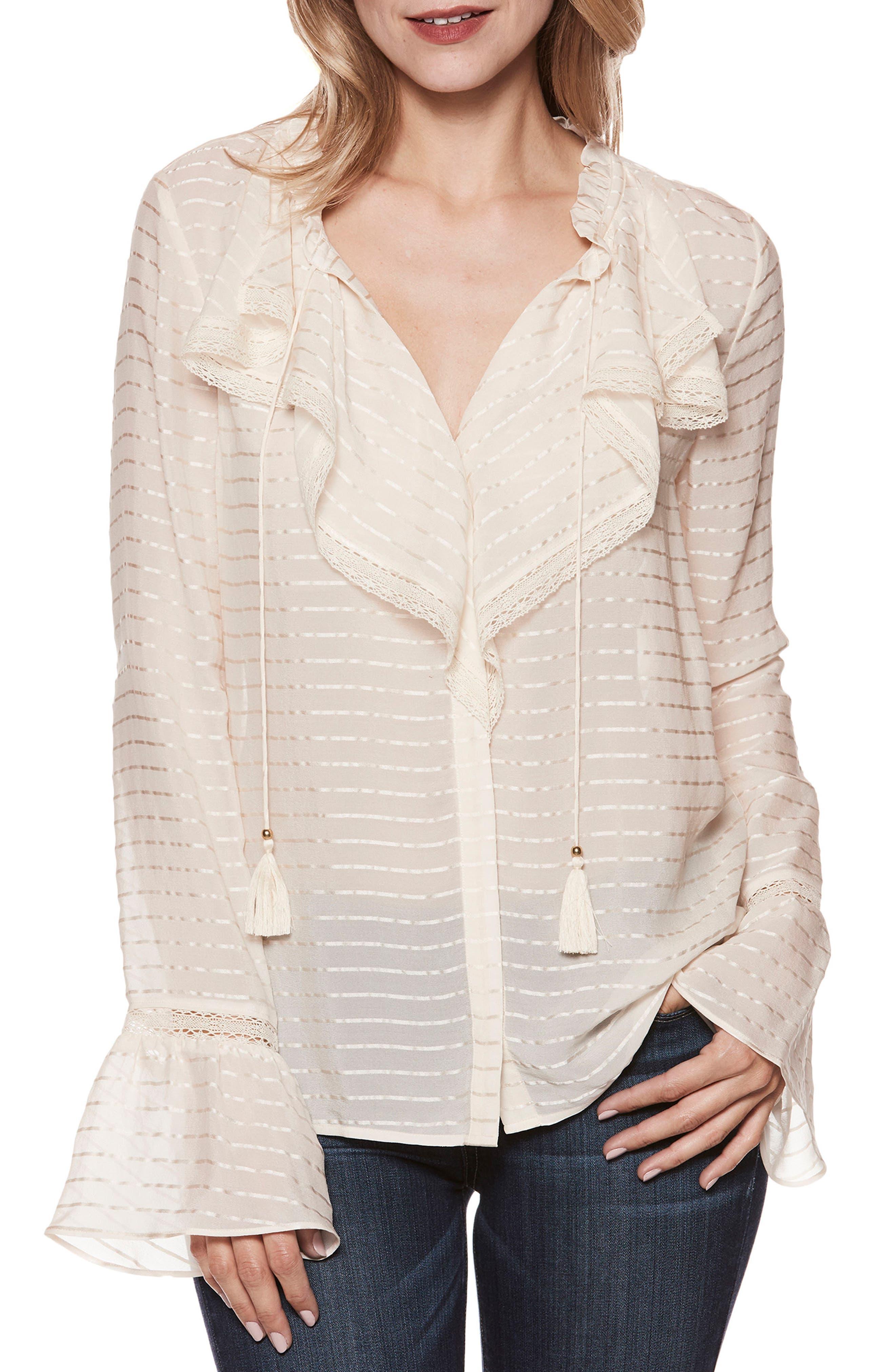 Silvette Ruffle Silk Blouse,                         Main,                         color, Natural Tonal Stripe Silk