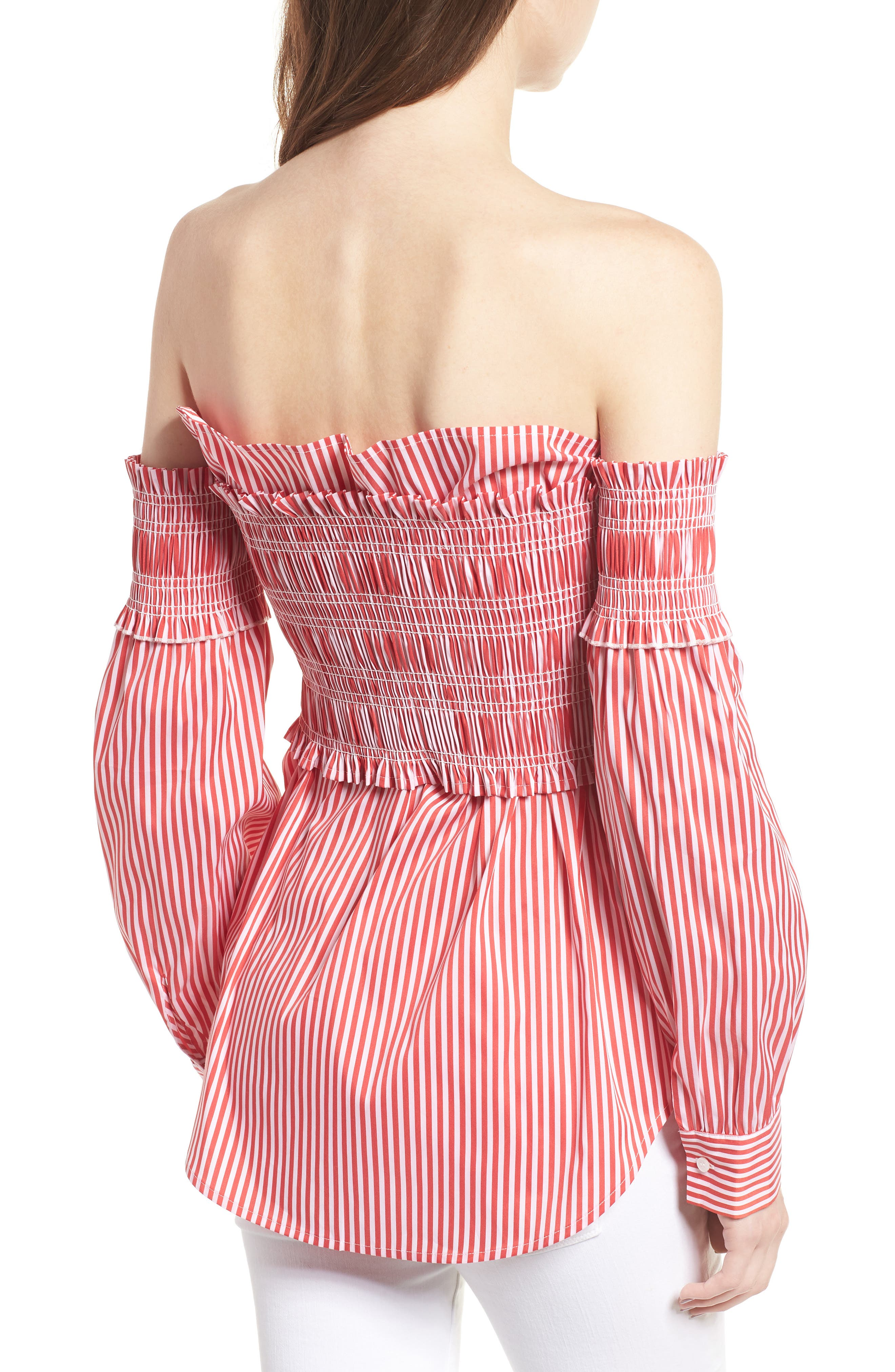 Stripe Smocked Corset Shirt,                             Alternate thumbnail 2, color,                             Red/ White Lucy Stripe