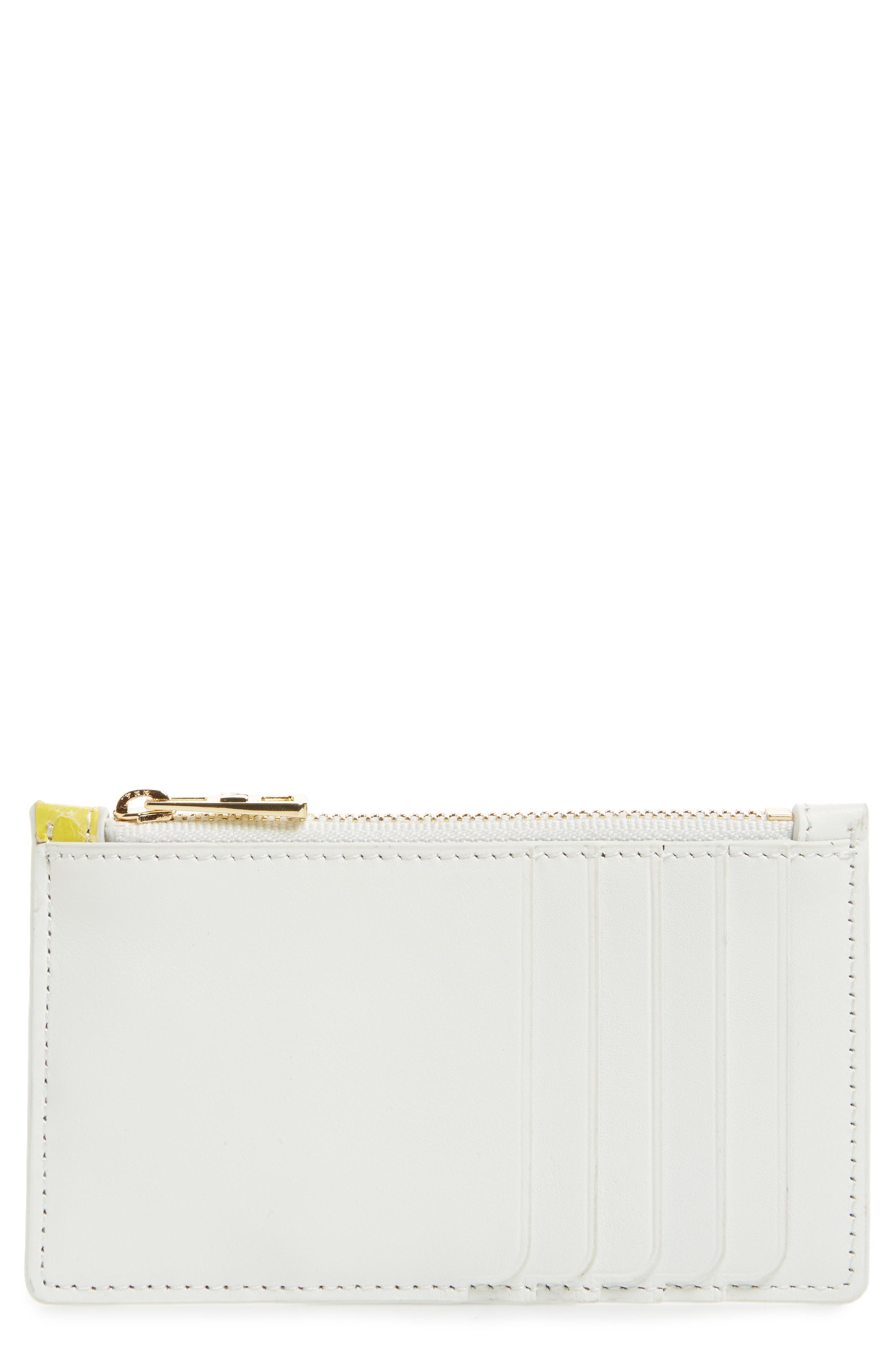 Small Leather & Genuine Snakeskin Card Case,                             Main thumbnail 1, color,                             Yellow/ Silver/ White