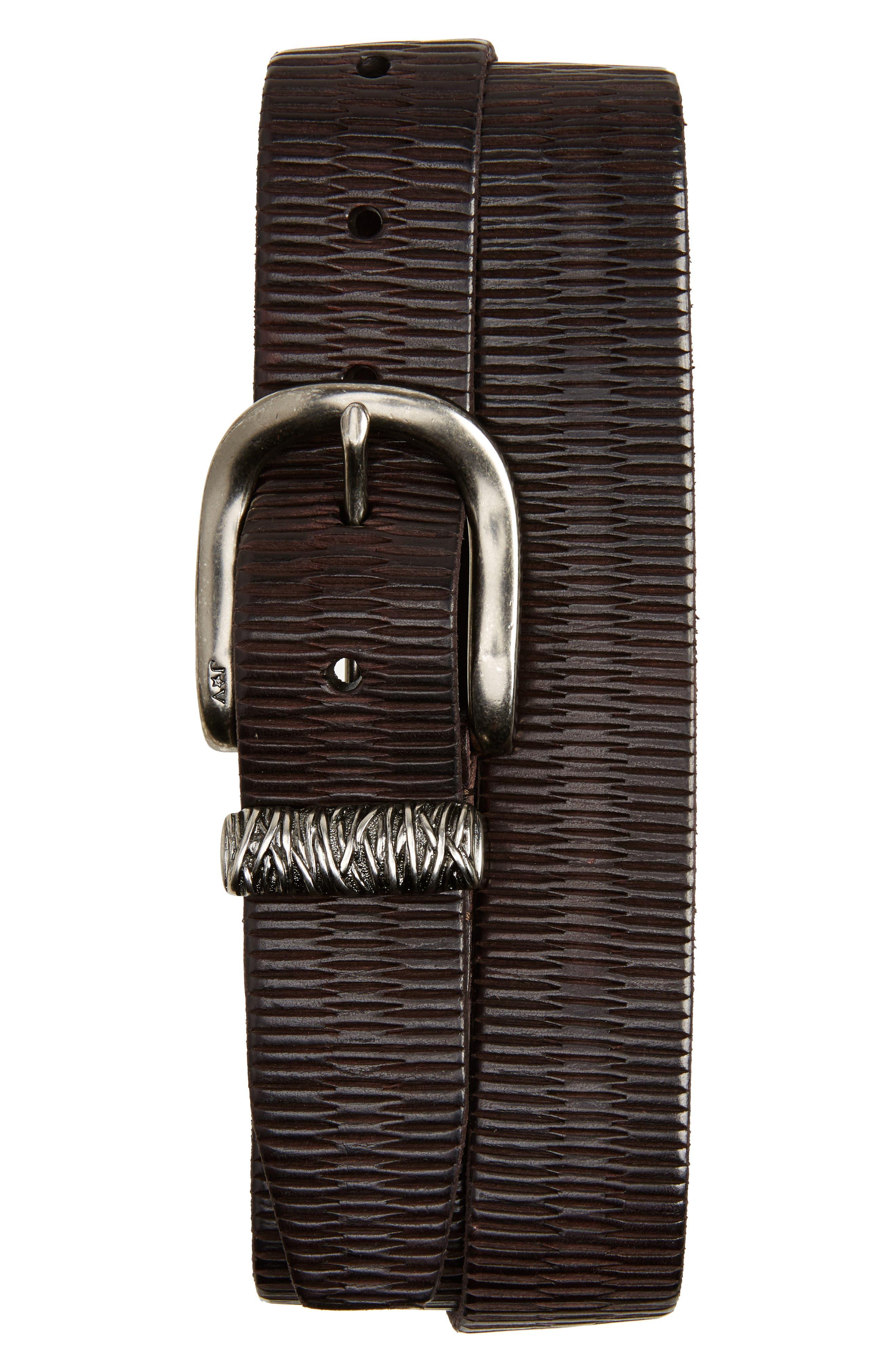 John Varvatos Star USA Hand Etched Leather Belt