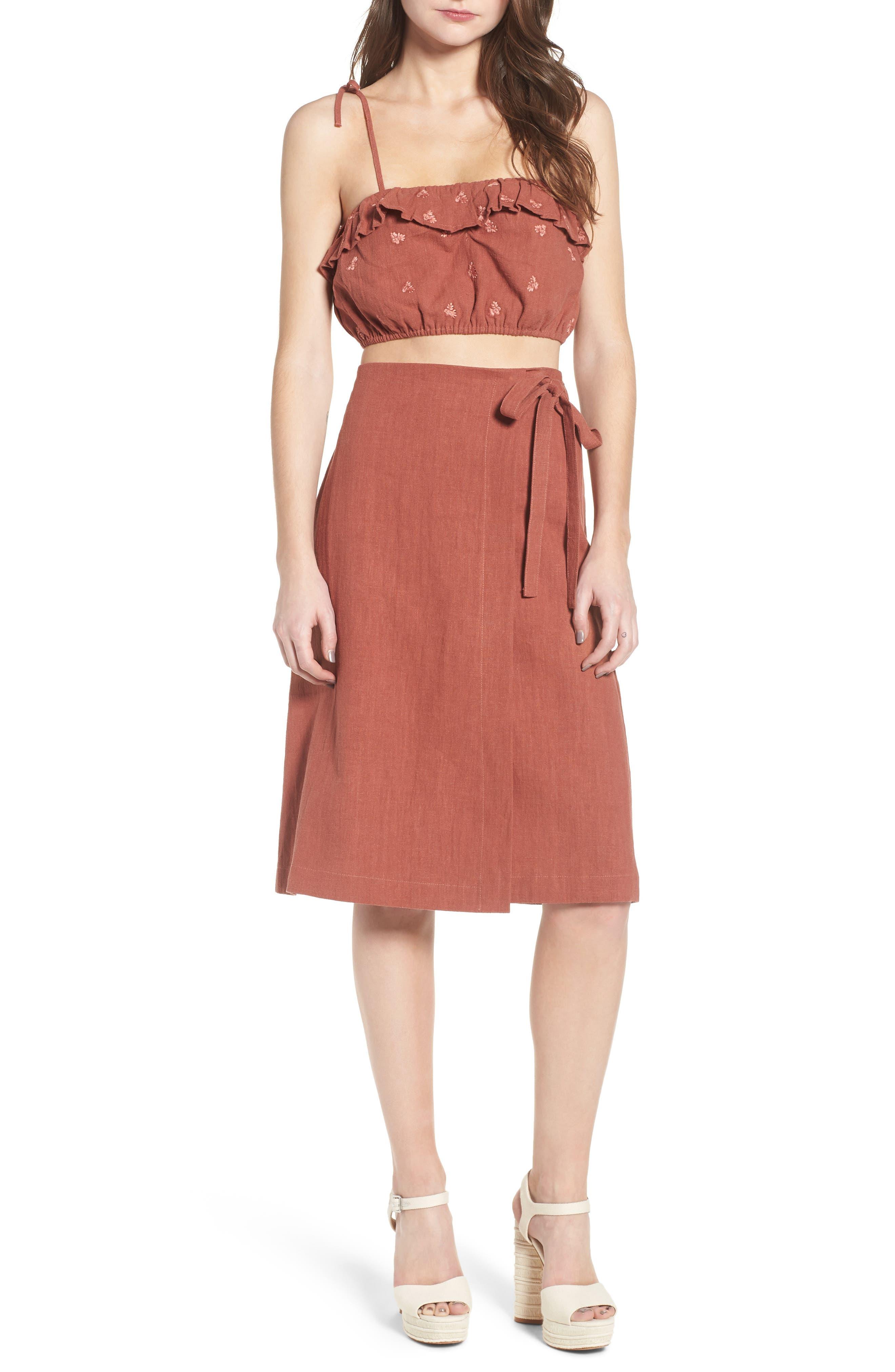 Wrap A-Line Skirt,                             Alternate thumbnail 2, color,                             Rust