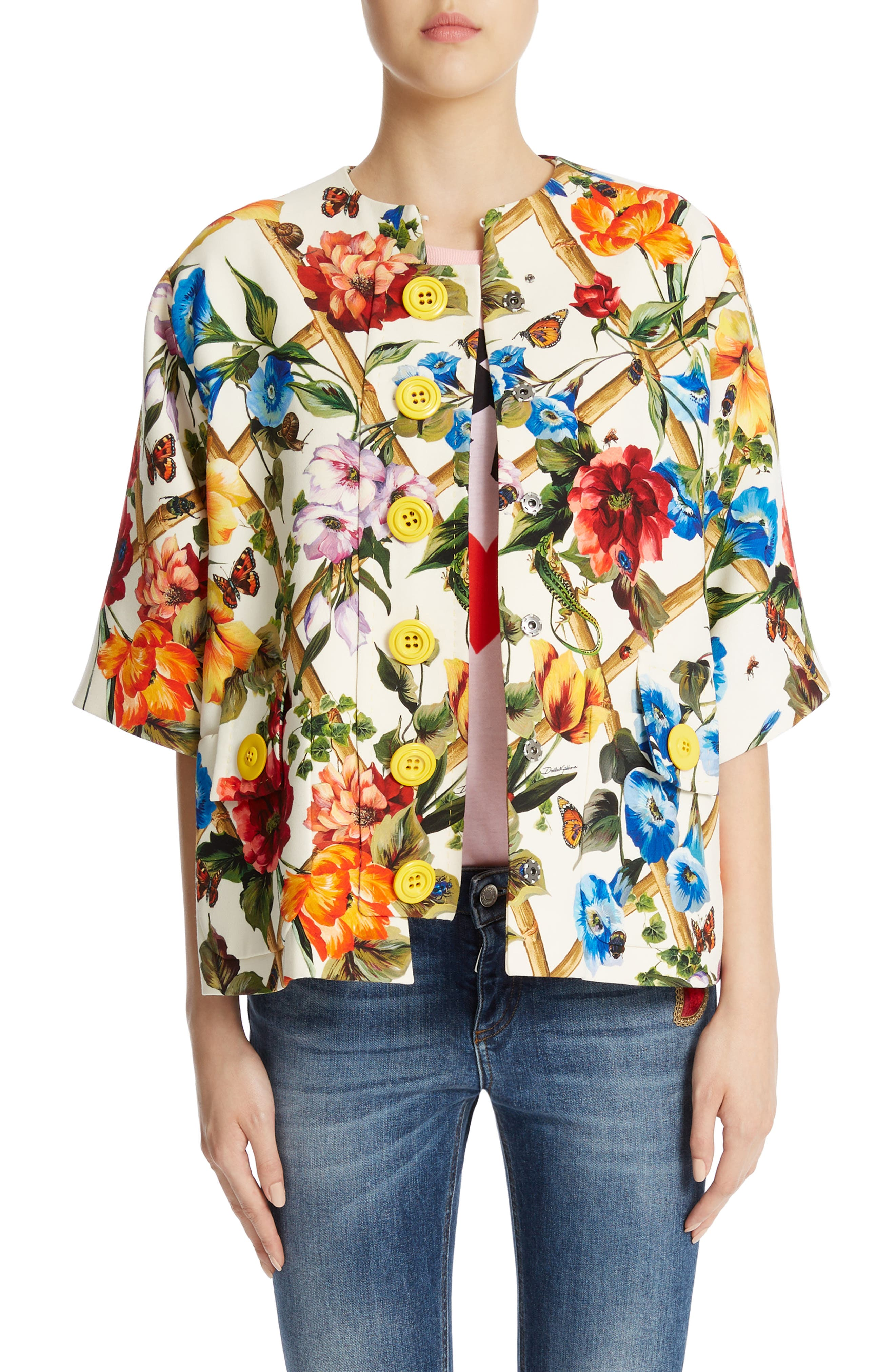 Dolce&Gabbana Crop Sleeve Wool & Silk Jacket