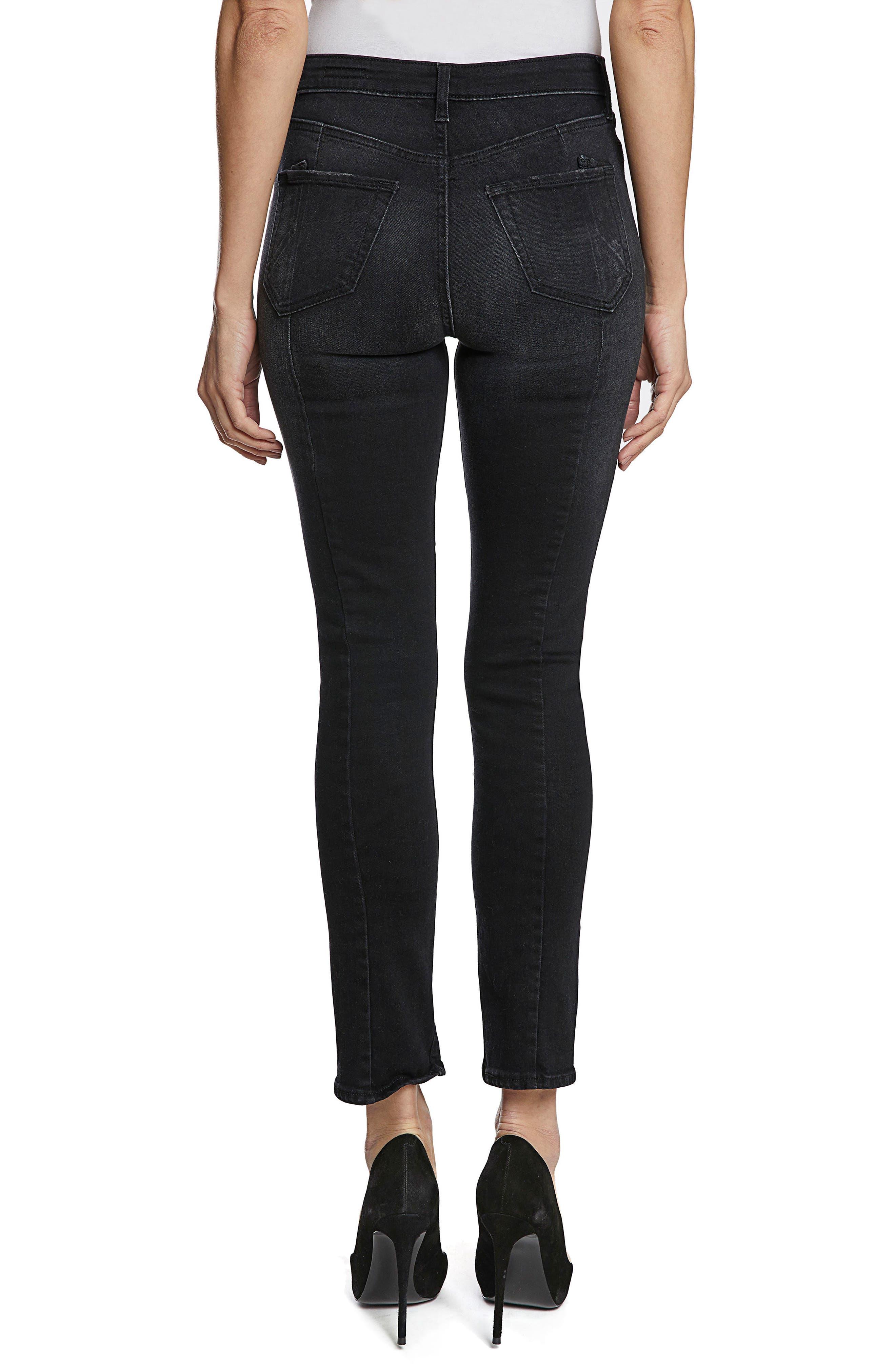Chevelle Split Ankle Skinny Jeans,                             Alternate thumbnail 2, color,                             Black