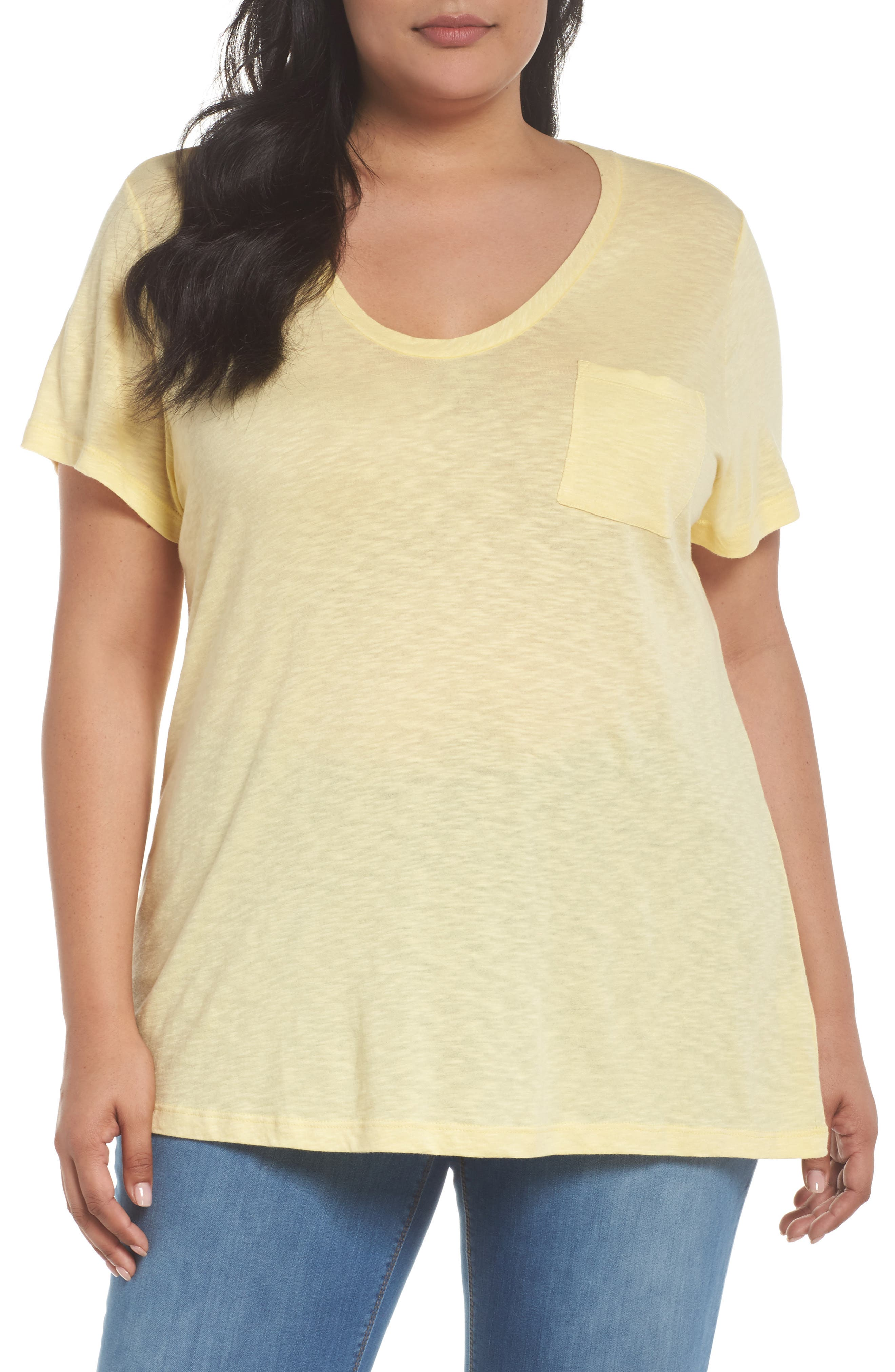 Alternate Image 1 Selected - Caslon® Rounded V-Neck Tee (Plus Size)