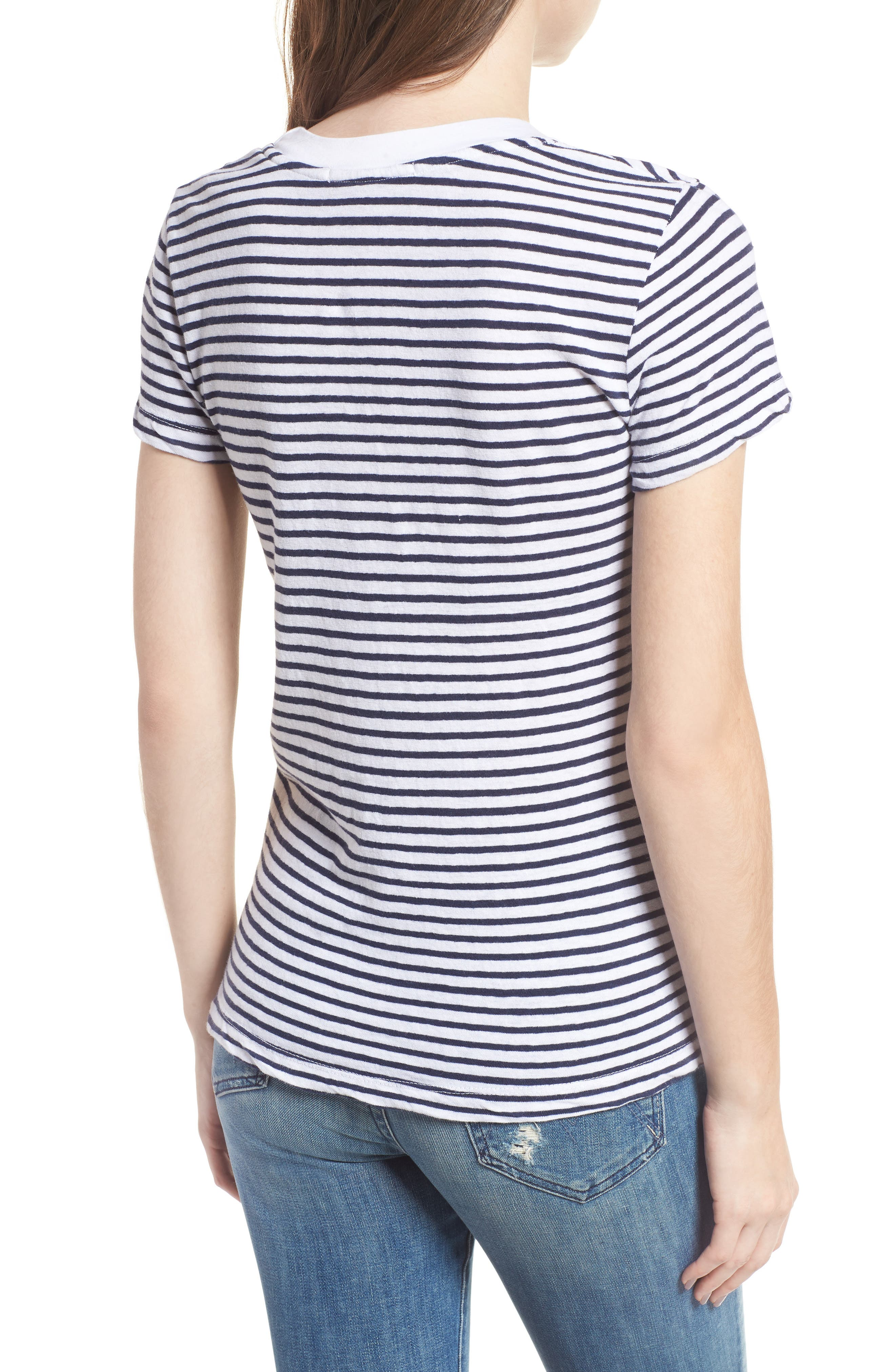 Stripe Linen Blend Boy Tee,                             Alternate thumbnail 2, color,                             Navy/ White