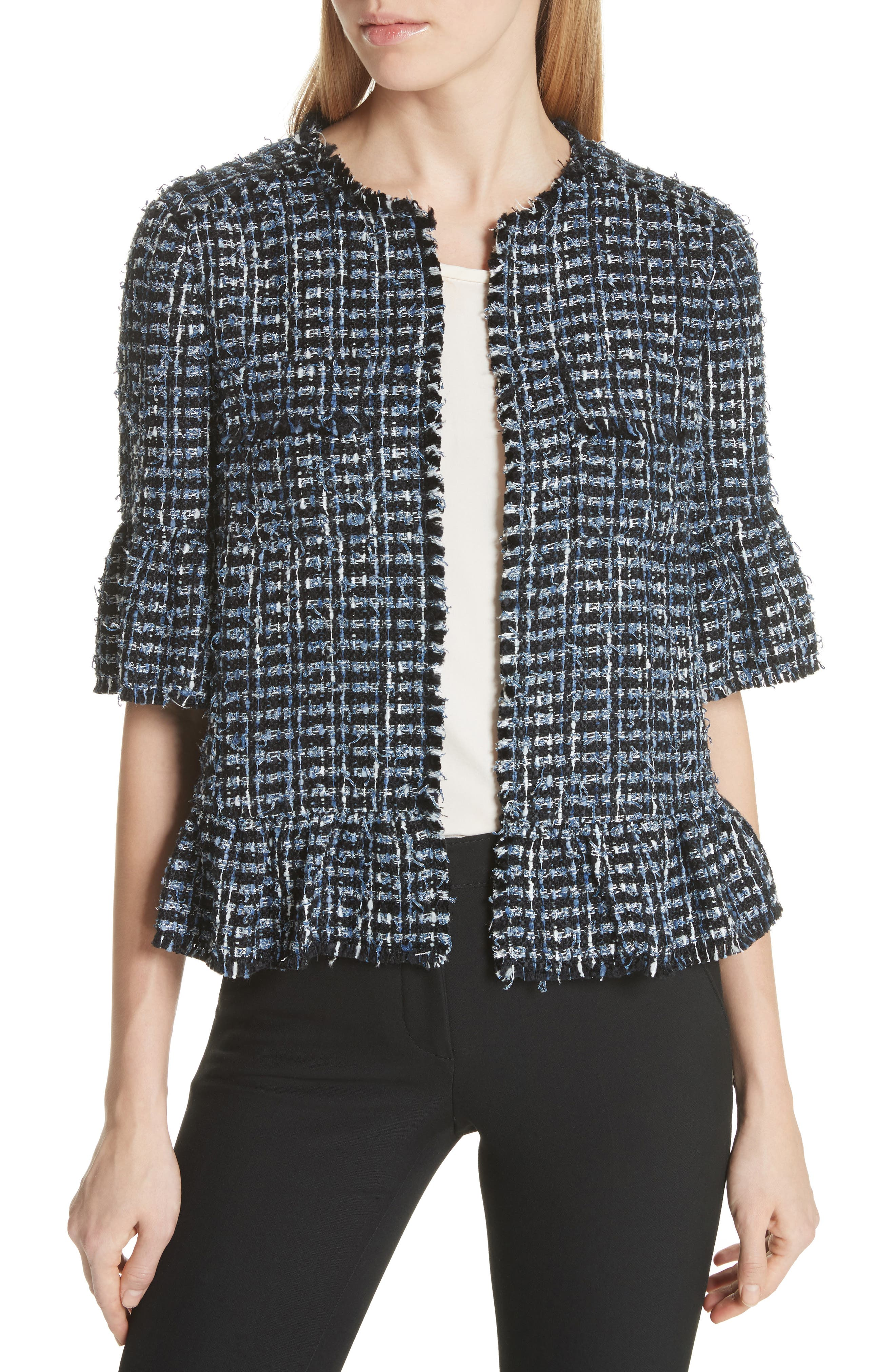 flounced sleeve tweed jacket,                         Main,                         color, Blue Combo