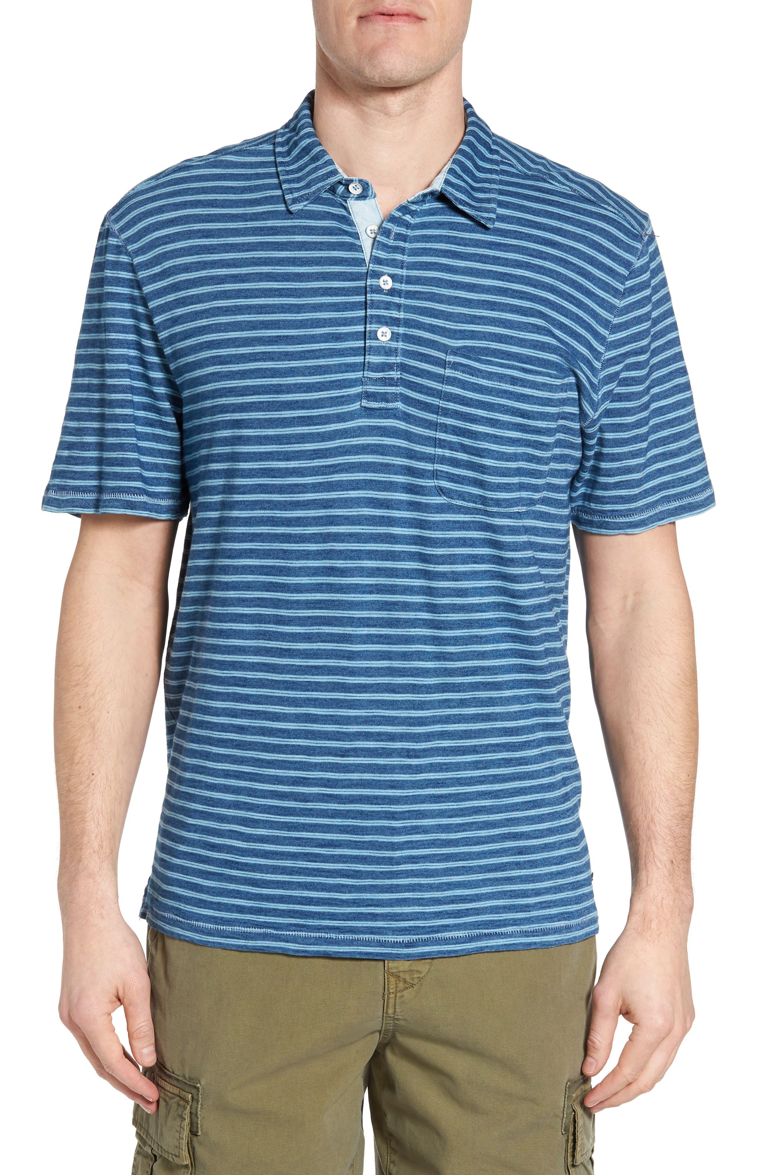 Stripe Jersey Polo,                         Main,                         color, Indigo
