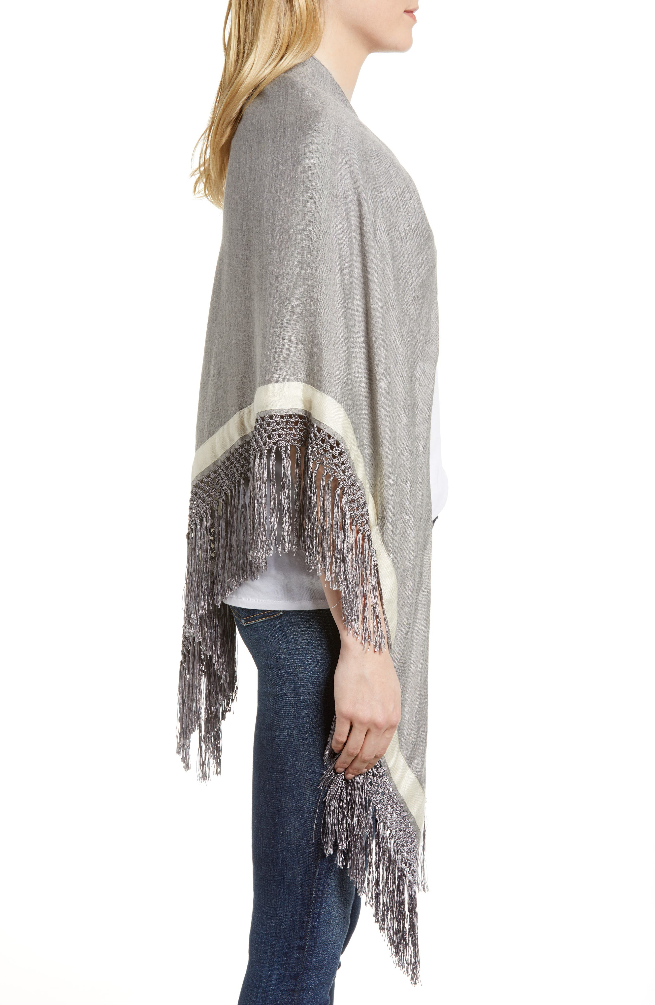 Sport Stripe Silk & Wool Poncho,                             Alternate thumbnail 3, color,                             Heather Grey