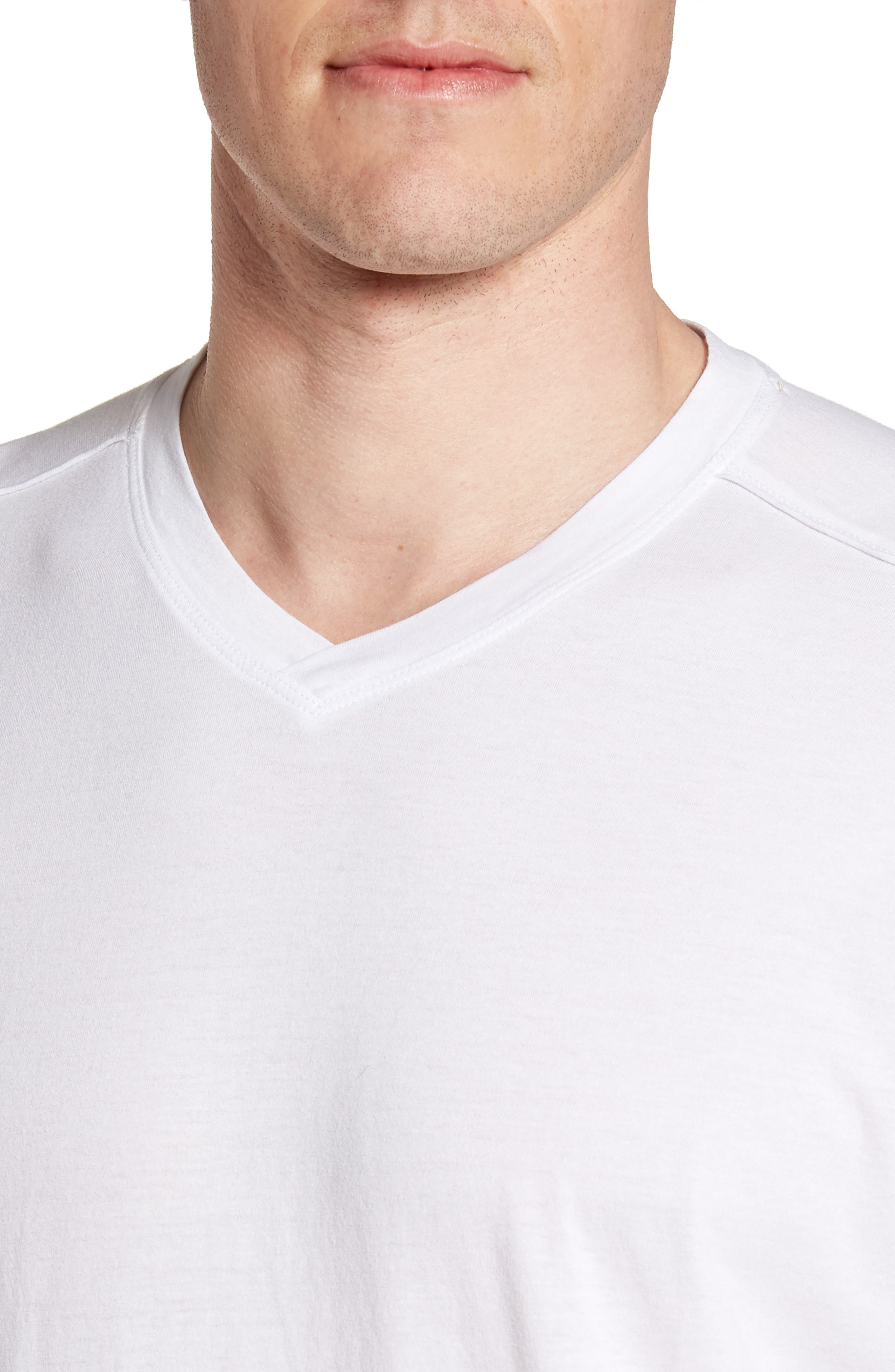 Cross Raw Seam V-Neck T-Shirt,                             Alternate thumbnail 4, color,                             White