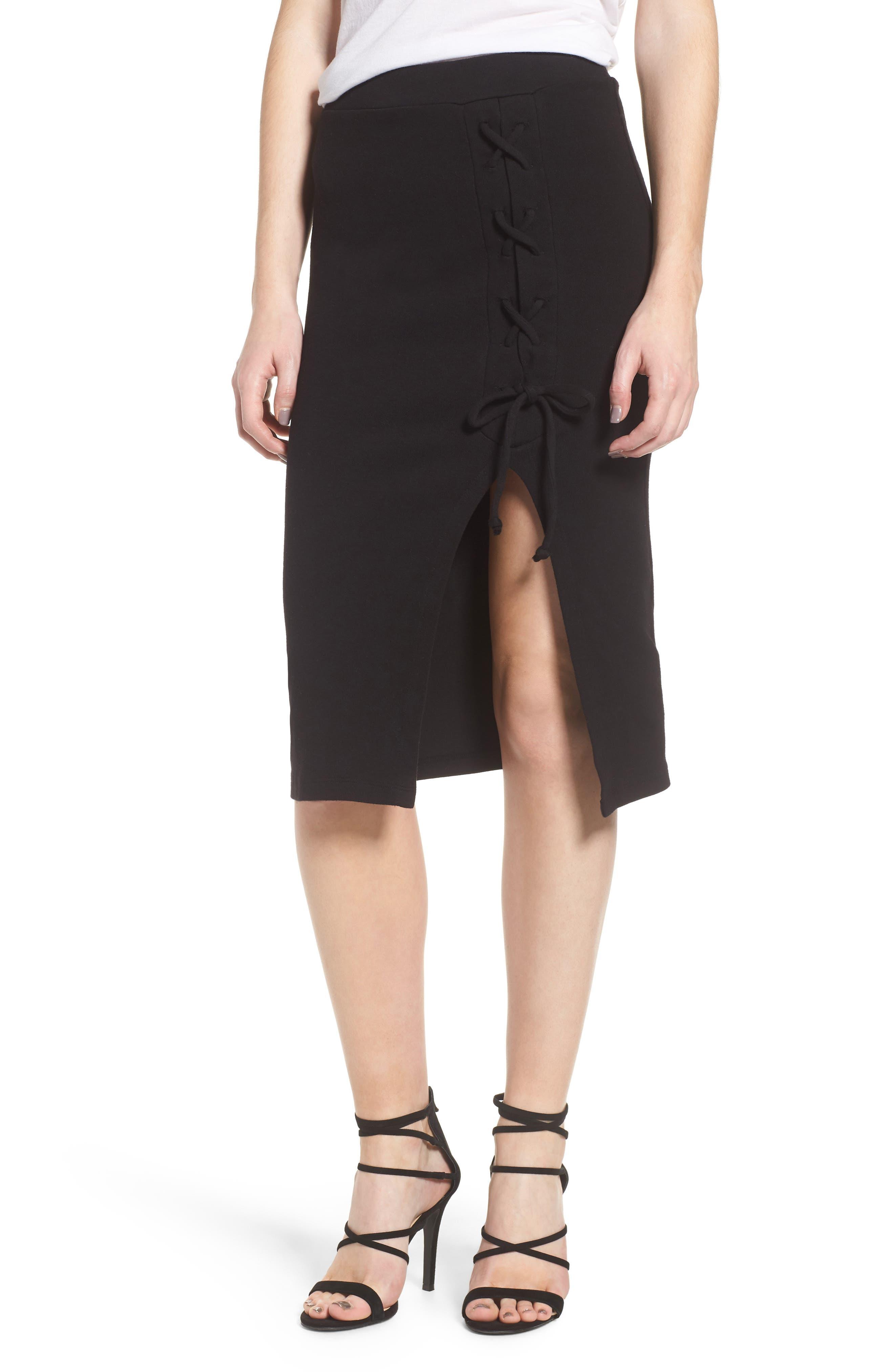 Rib Knit Lace-Up Skirt,                             Main thumbnail 1, color,                             Black