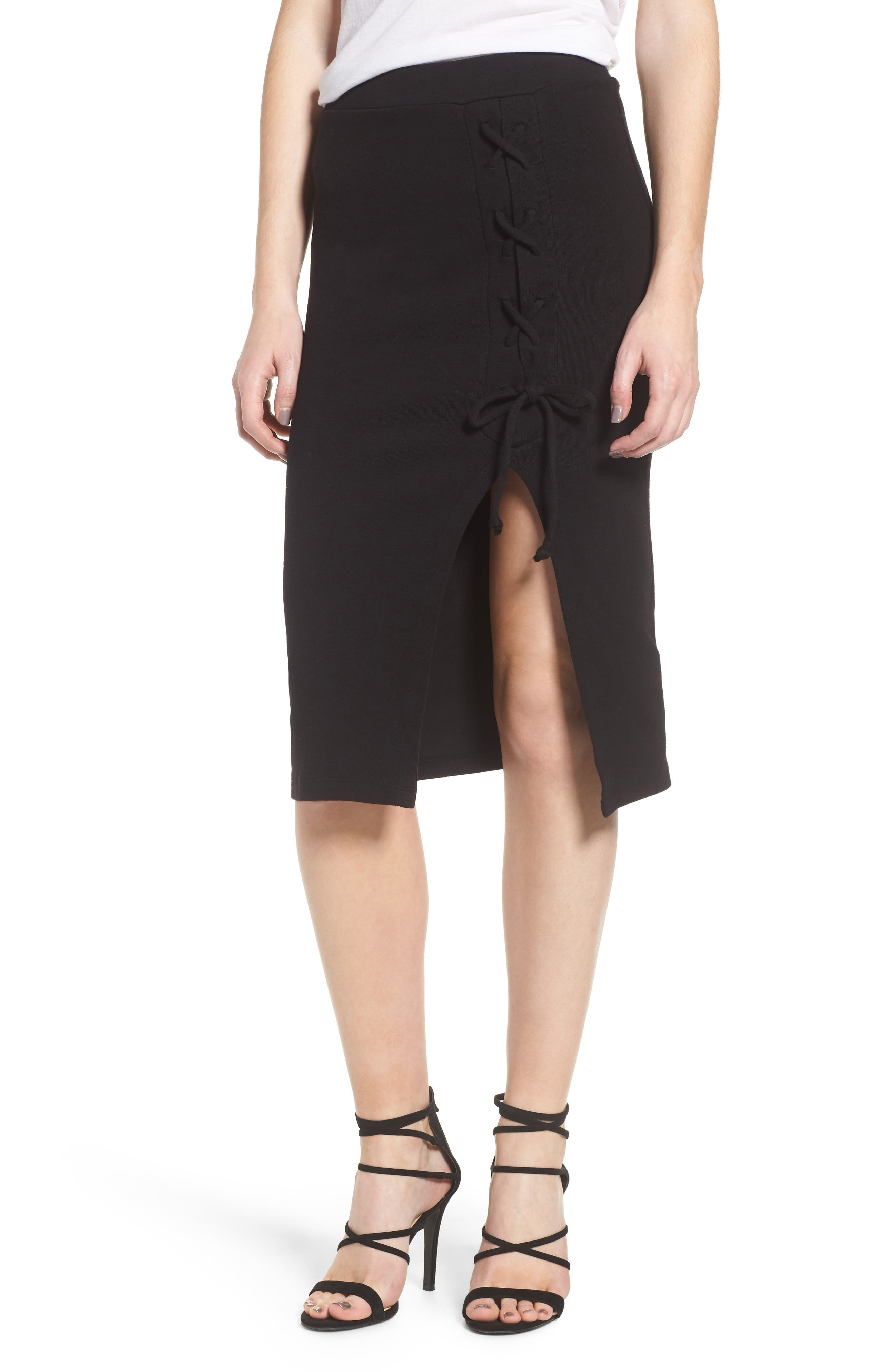 Rib Knit Lace-Up Skirt,                         Main,                         color, Black