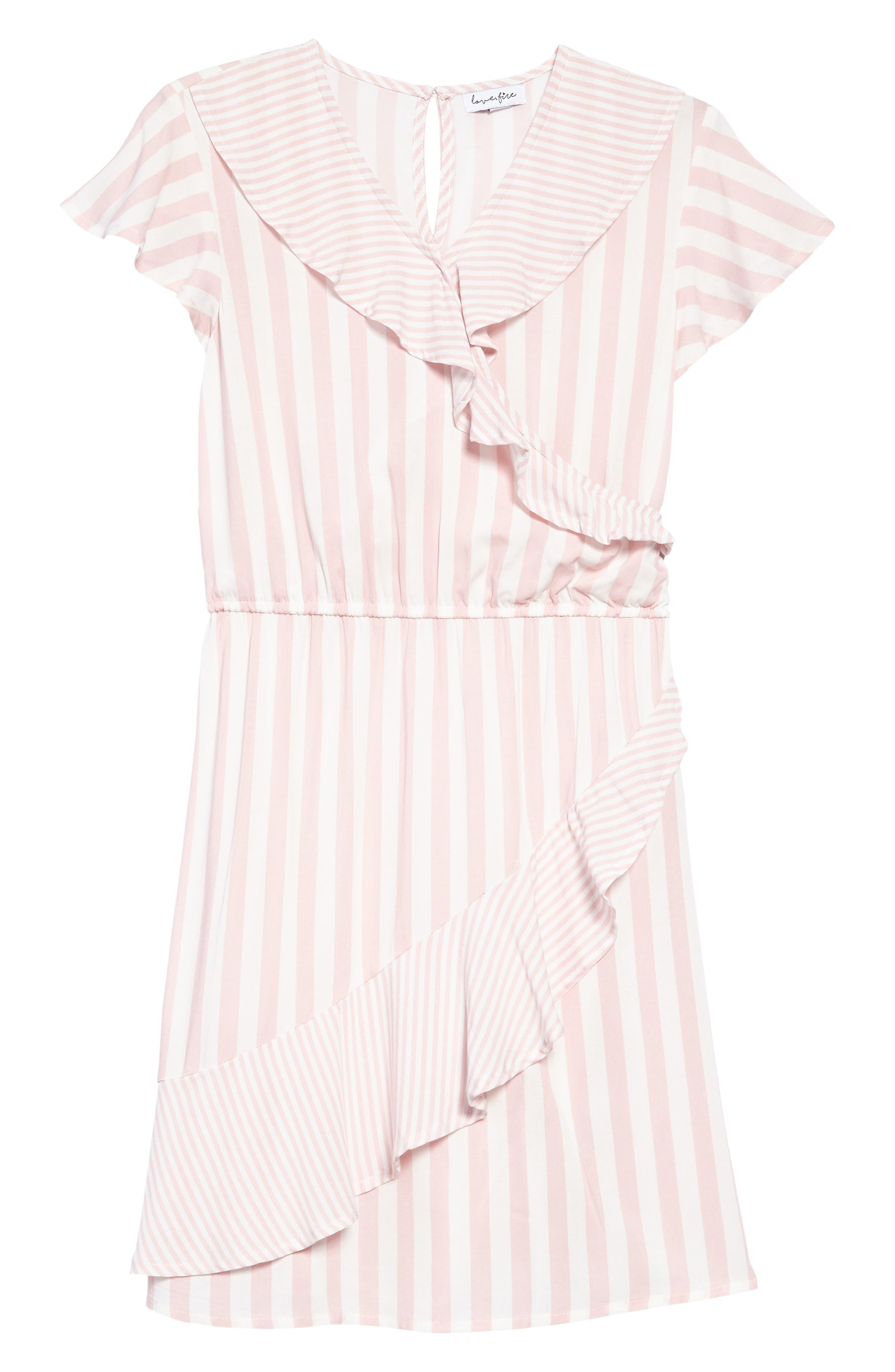 Main Image - Love, Fire Print Wrap Dress (Big Girls)