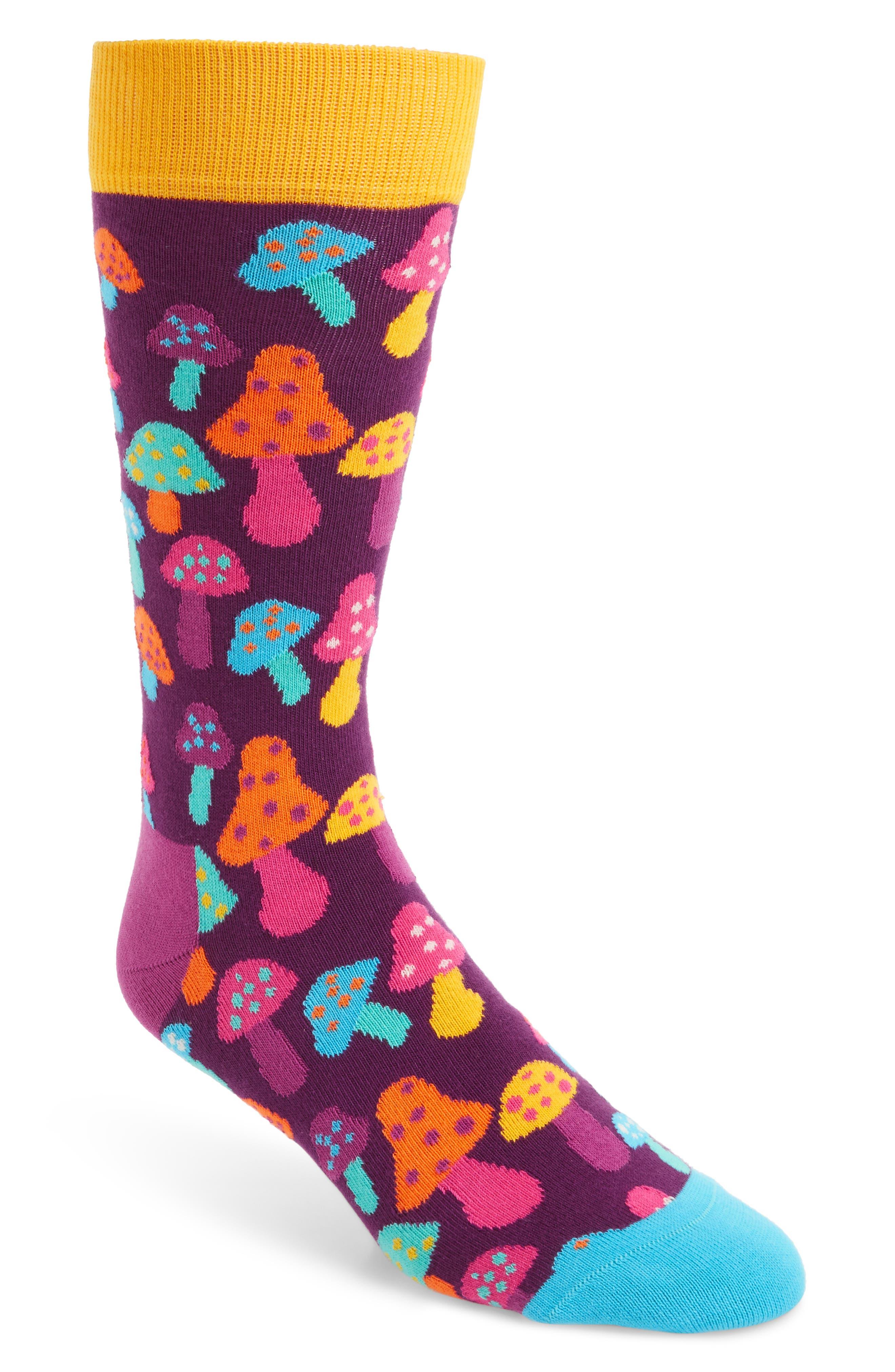 Mushroom Socks,                         Main,                         color, Purple Multi