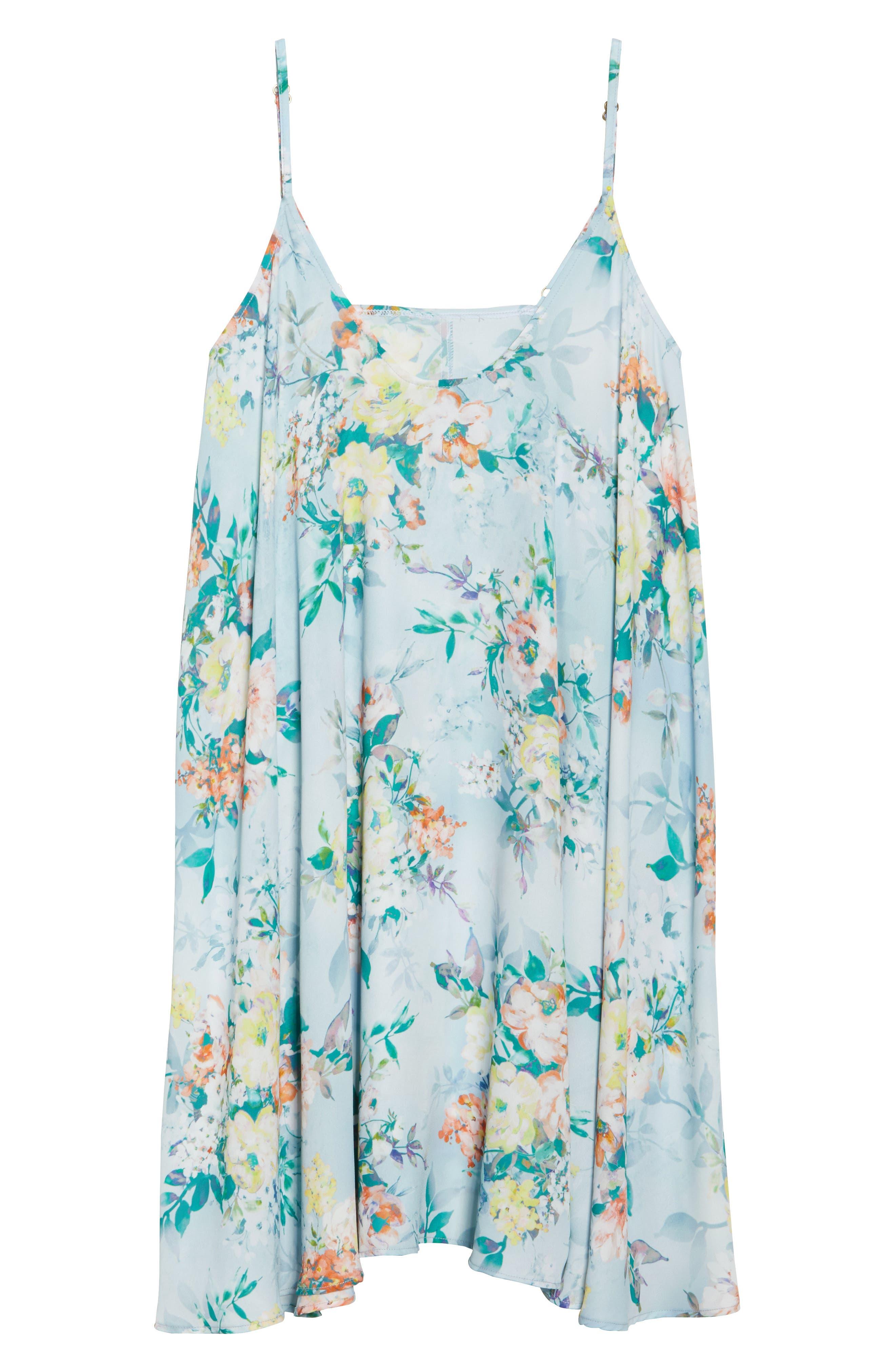 Femme Flora Cover-Up Dress,                             Alternate thumbnail 6, color,                             Blue Multi