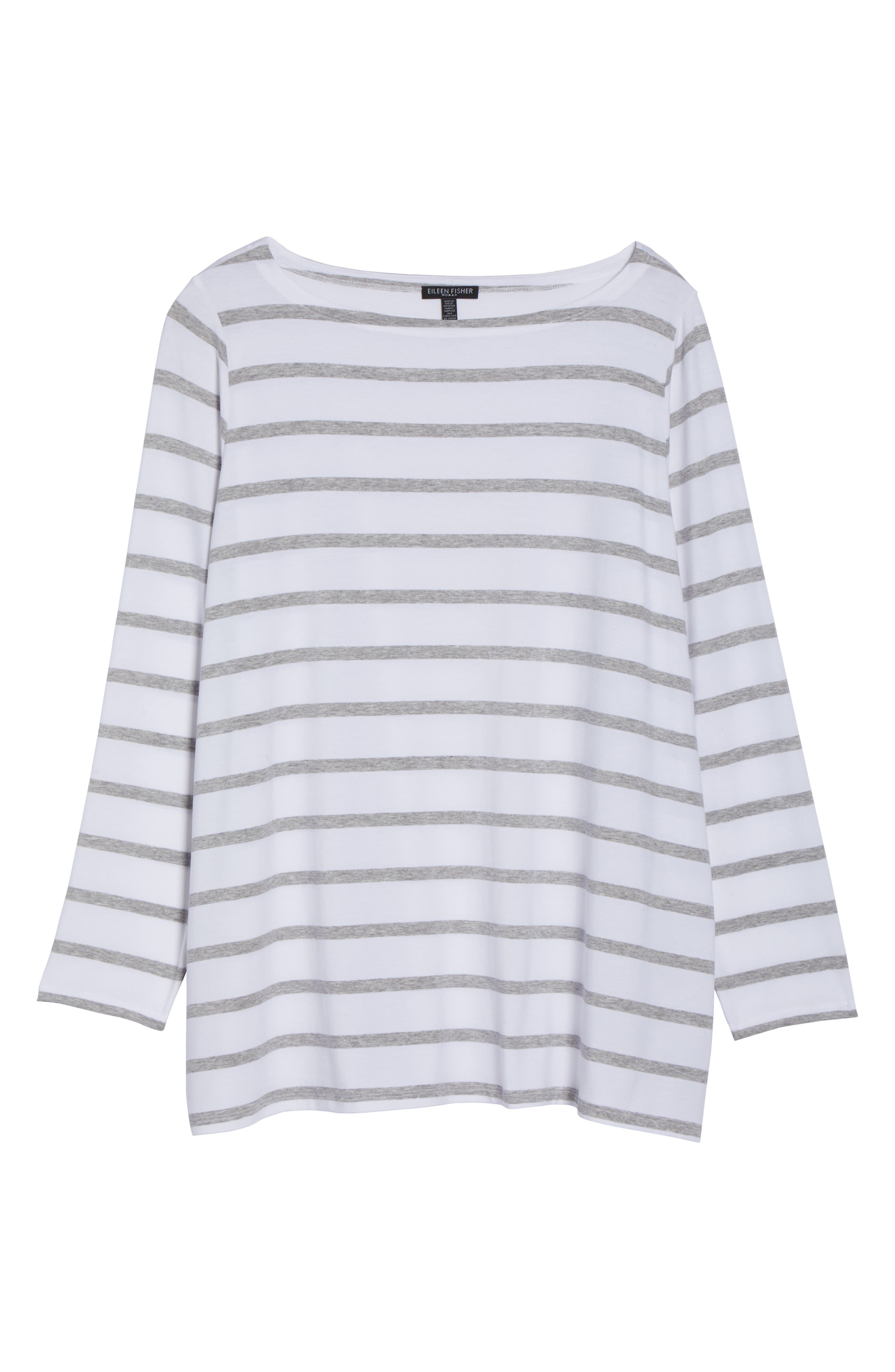 Stripe Stretch Tencel<sup>®</sup> Lyocell Top,                             Alternate thumbnail 7, color,                             White/ Dark Pearl