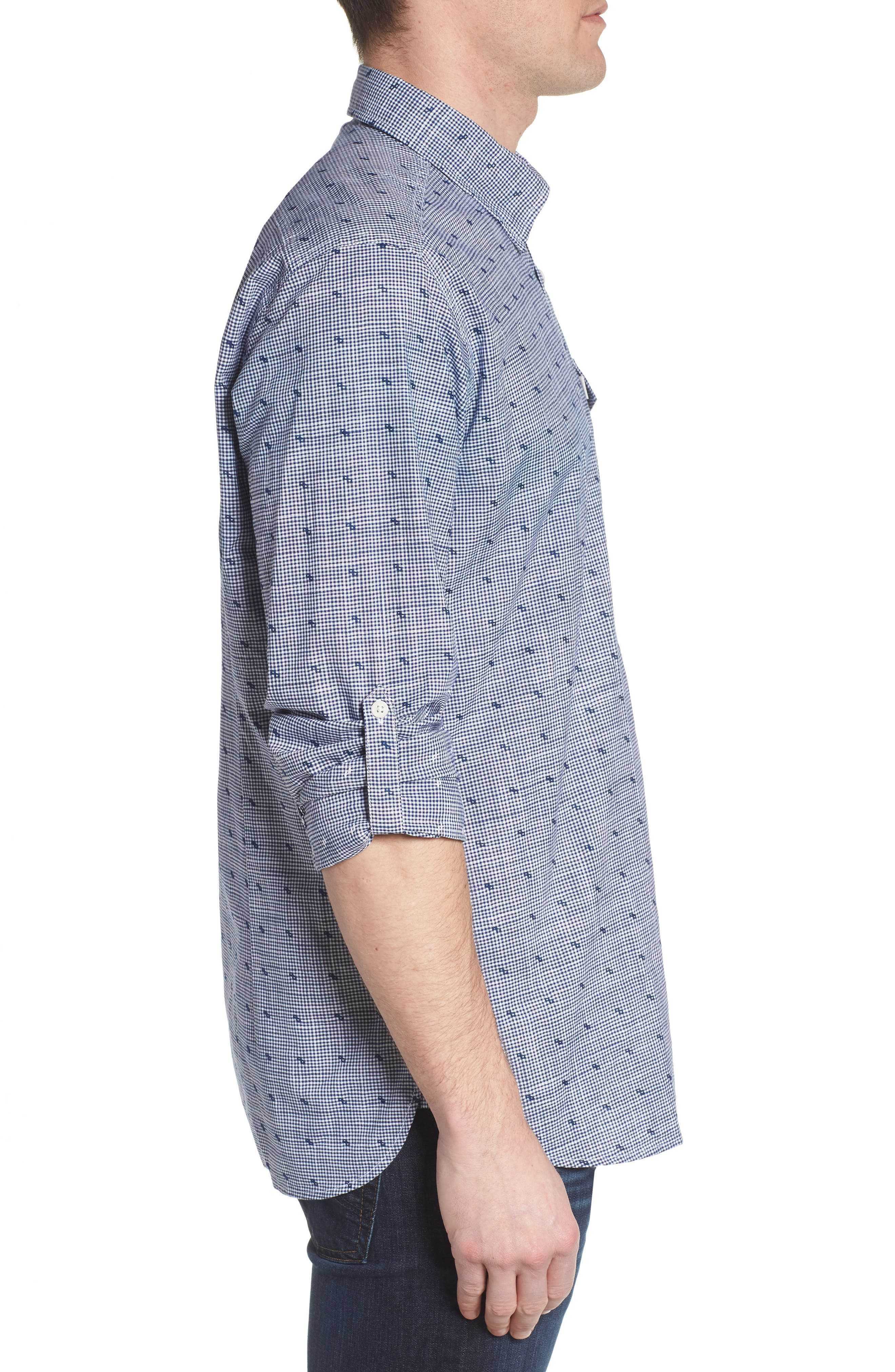 Beluga Regular Fit Check Sport Shirt,                             Alternate thumbnail 4, color,                             Navy