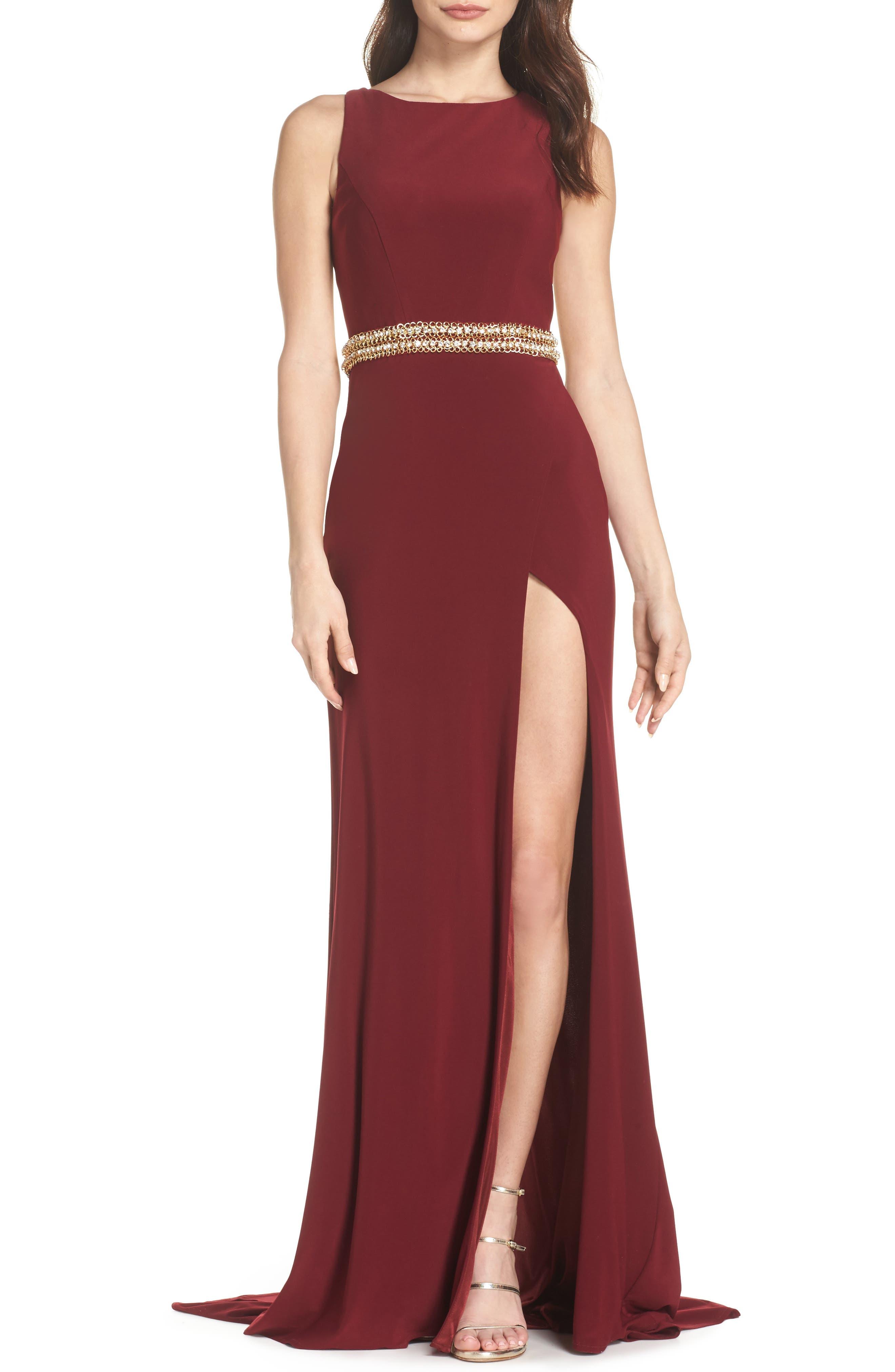 Embellished Waist Gown,                         Main,                         color, Burgundy