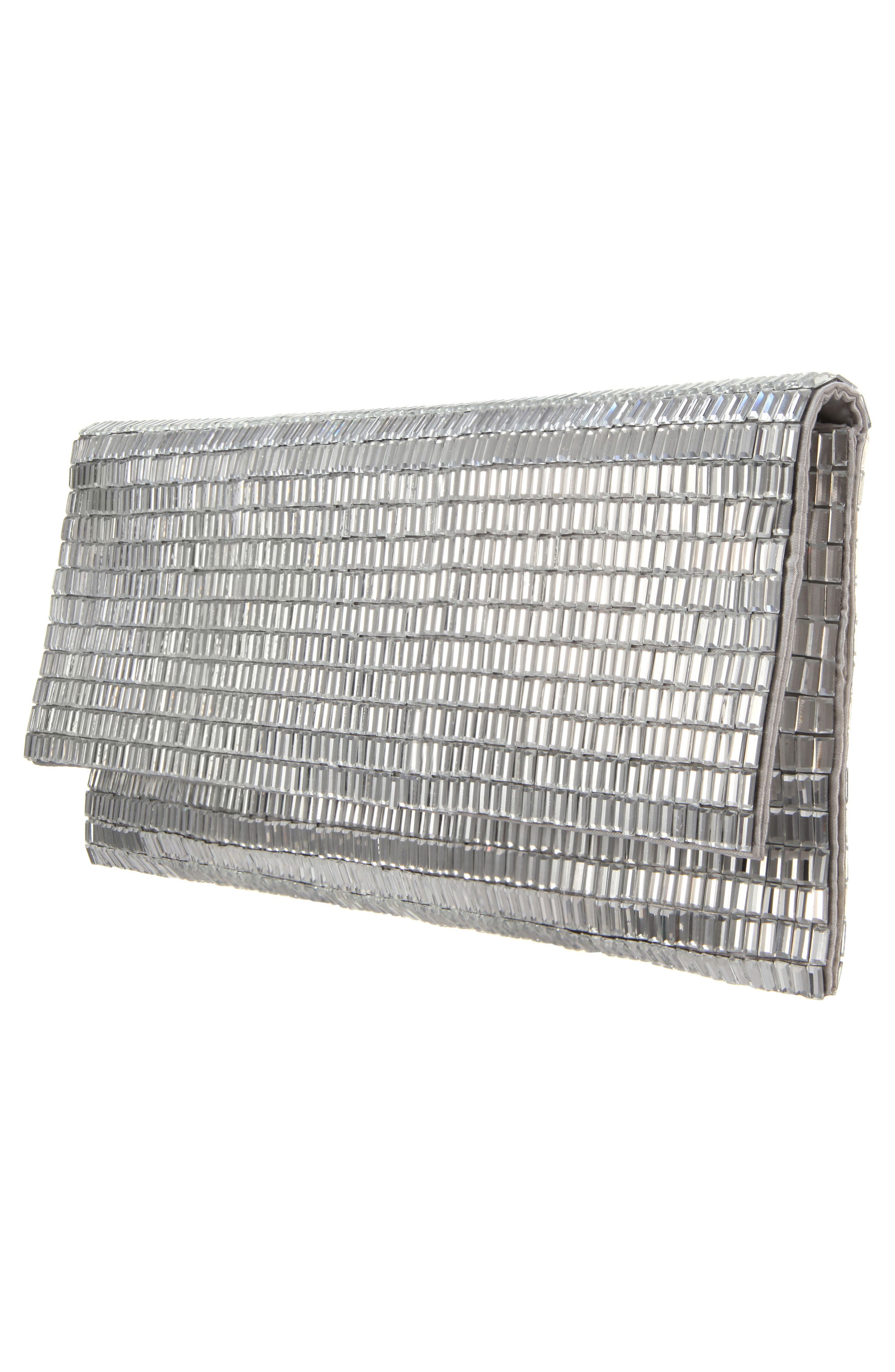 Crystal Foldover Clutch,                             Alternate thumbnail 4, color,                             Silver