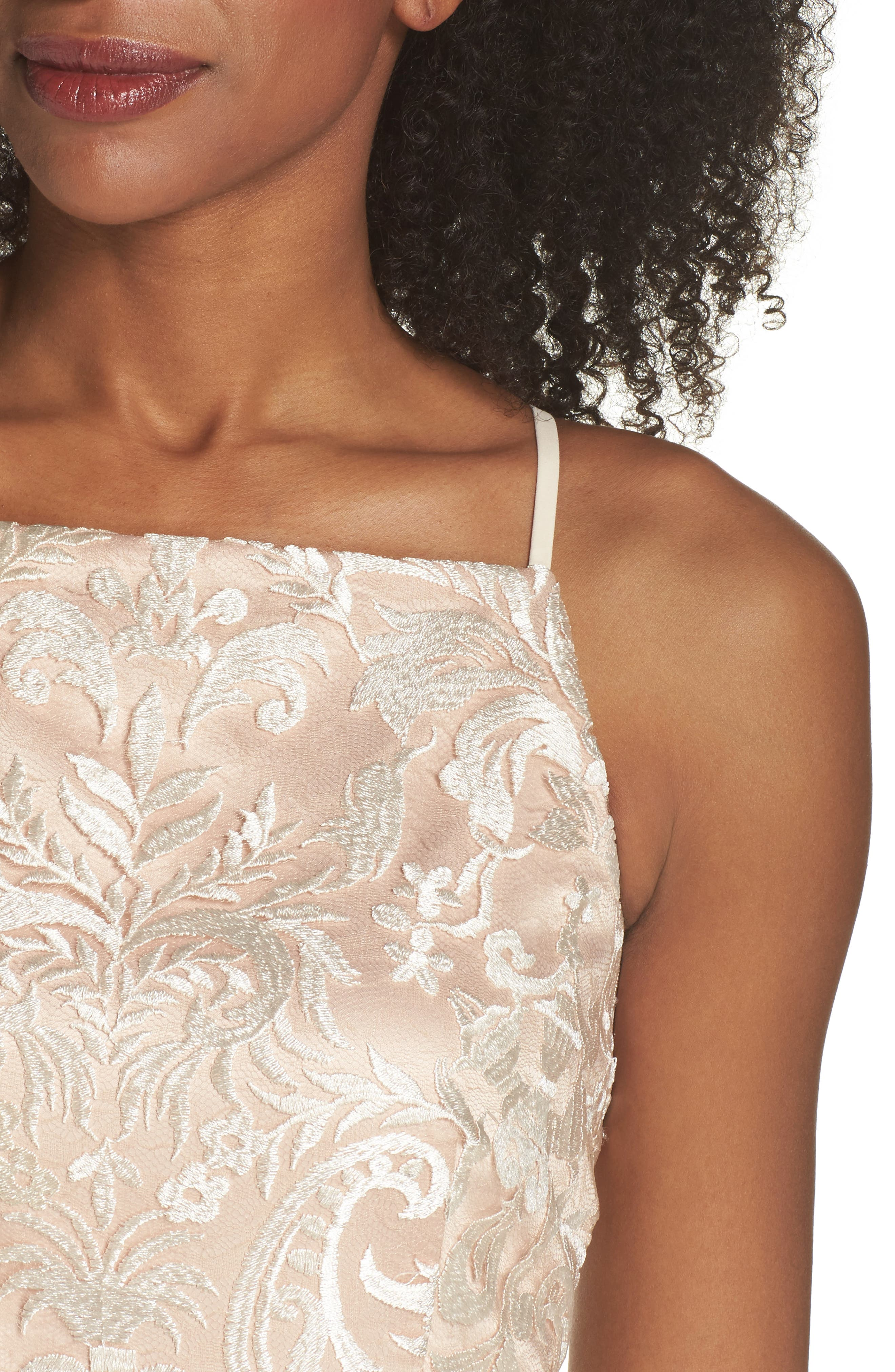 Sleeveless Embroidered Gown,                             Alternate thumbnail 4, color,                             Champagne