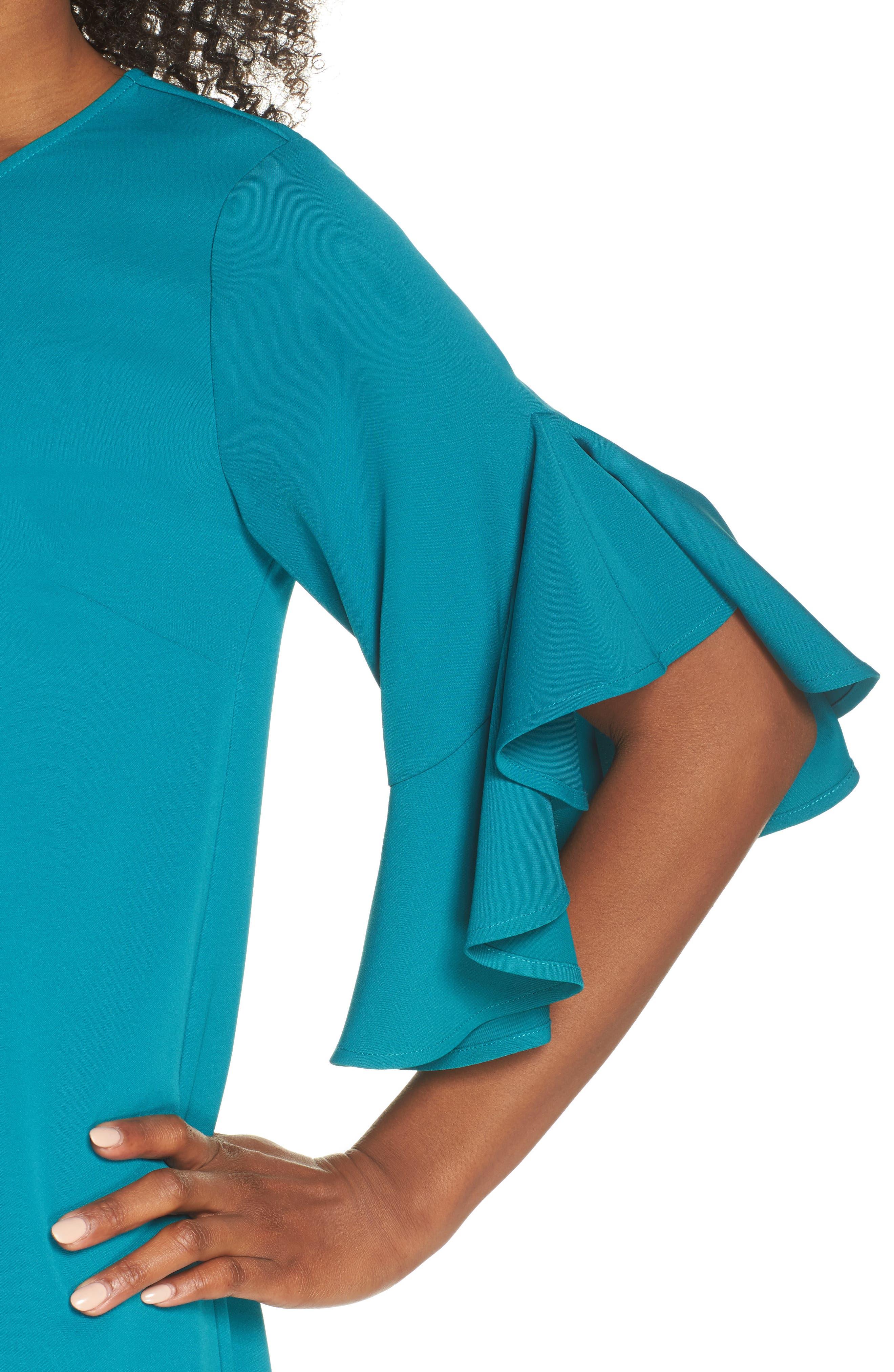 Flounce Hem Shift Dress,                             Alternate thumbnail 4, color,                             Teal Harbor