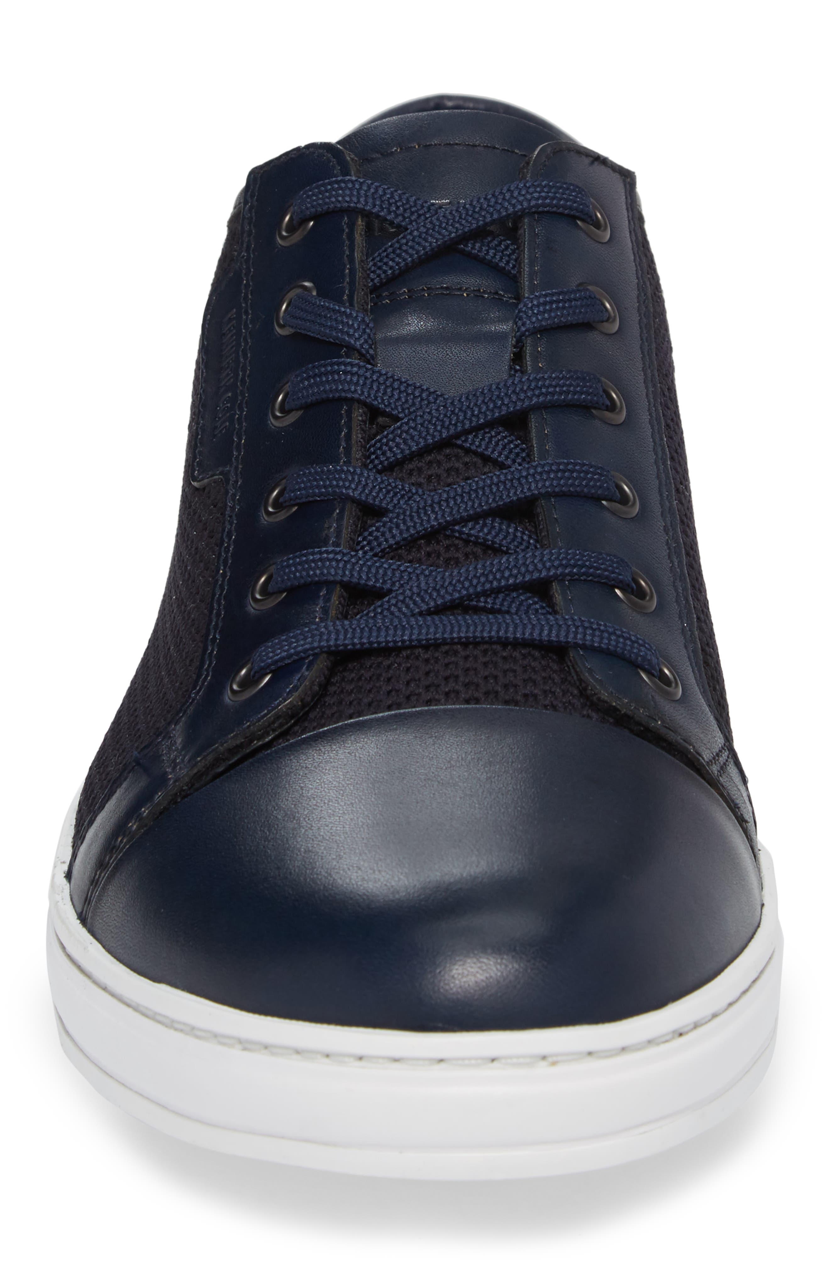 Knit Low Top Sneaker,                             Alternate thumbnail 4, color,                             Navy Leather
