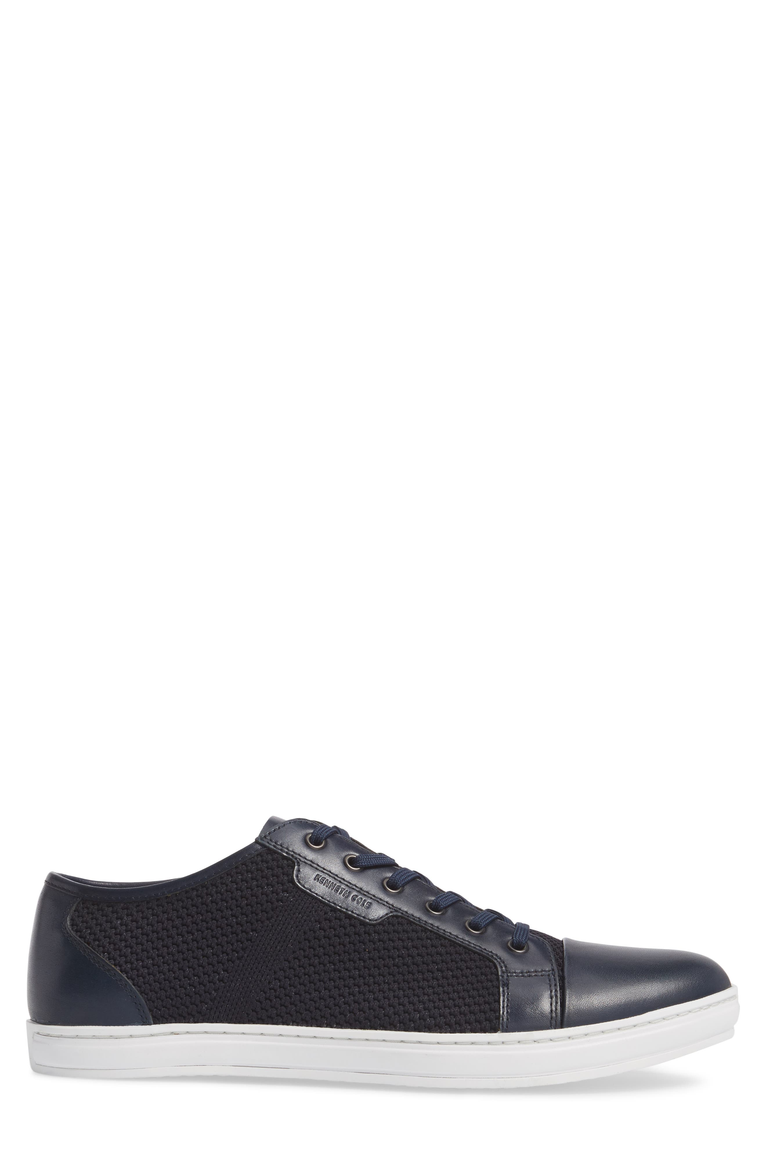 Knit Low Top Sneaker,                             Alternate thumbnail 3, color,                             Navy Leather