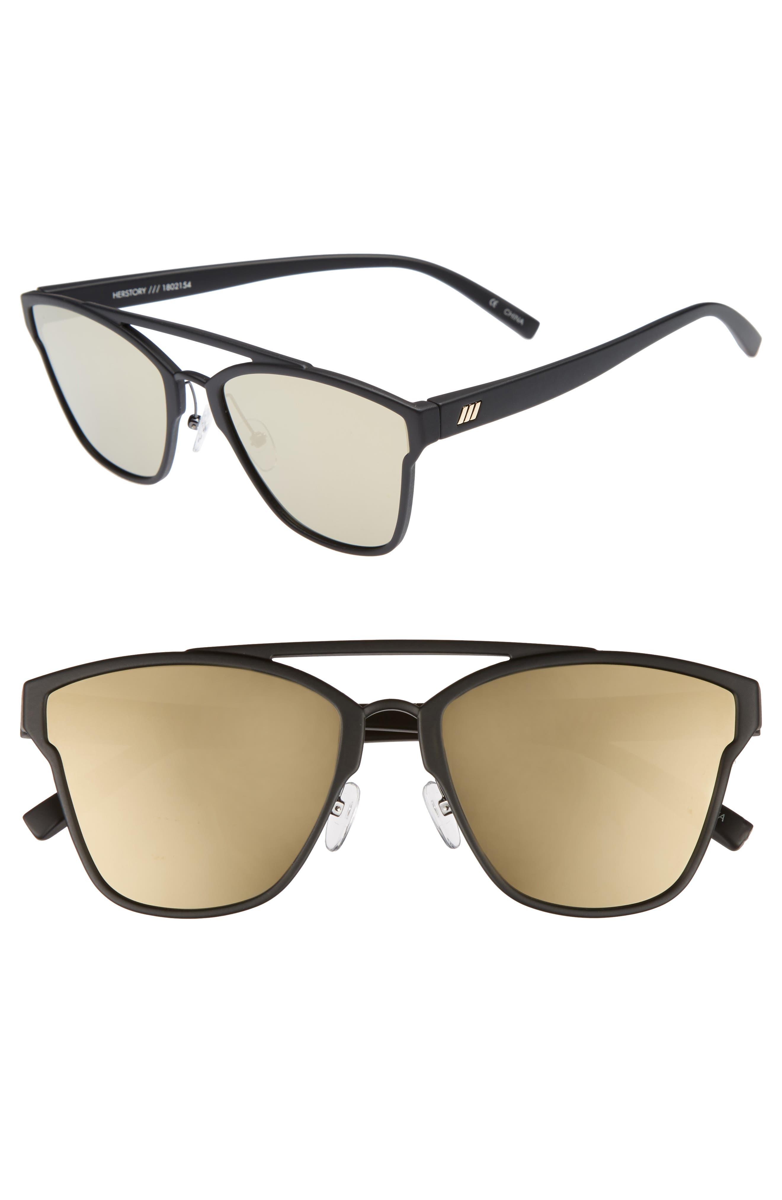 Herstory 55mm Aviator Sunglasses,                         Main,                         color, Black Rubber