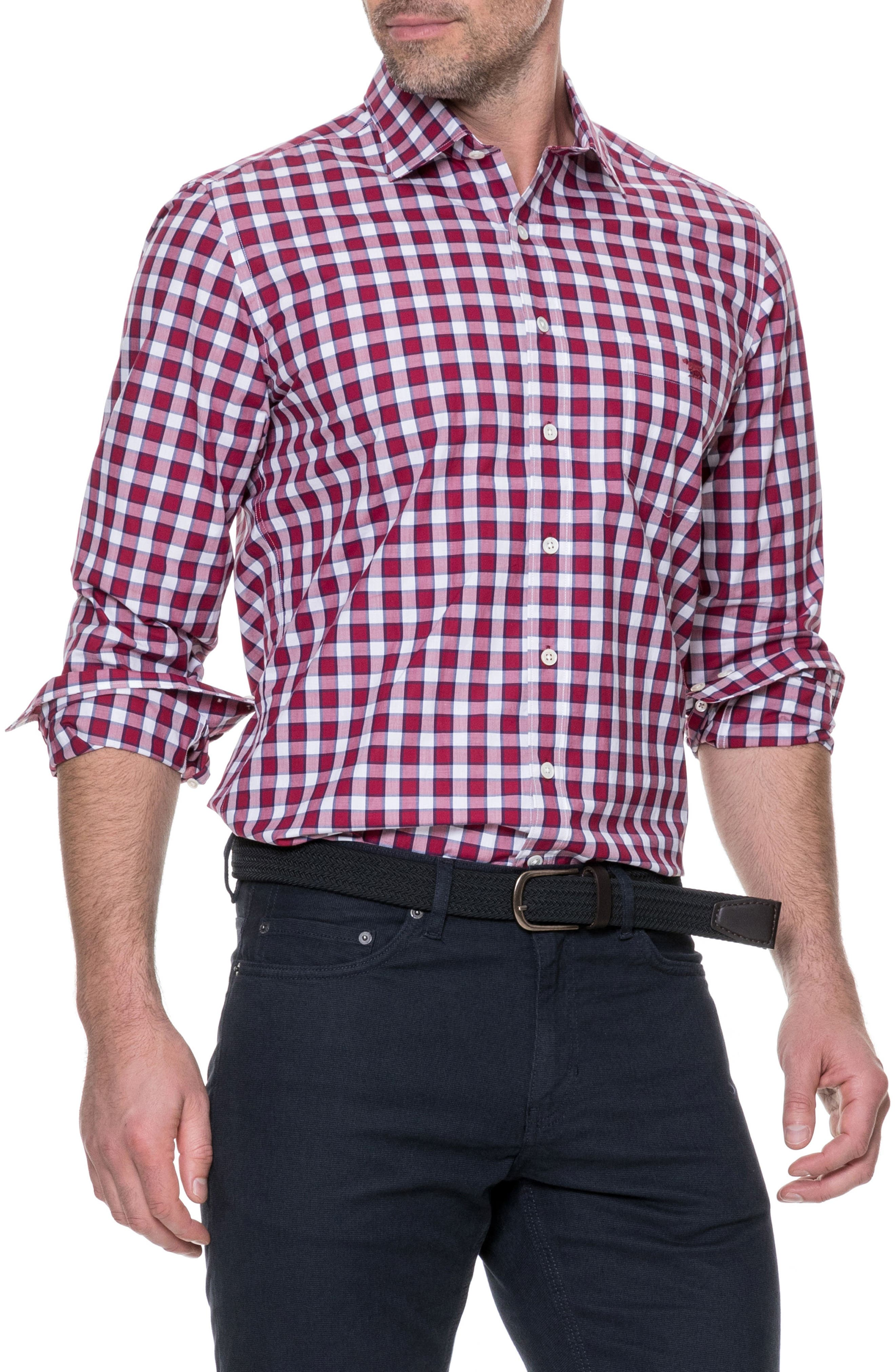 Cedarwood Regular Fit Sport Shirt,                             Main thumbnail 1, color,                             Sangria