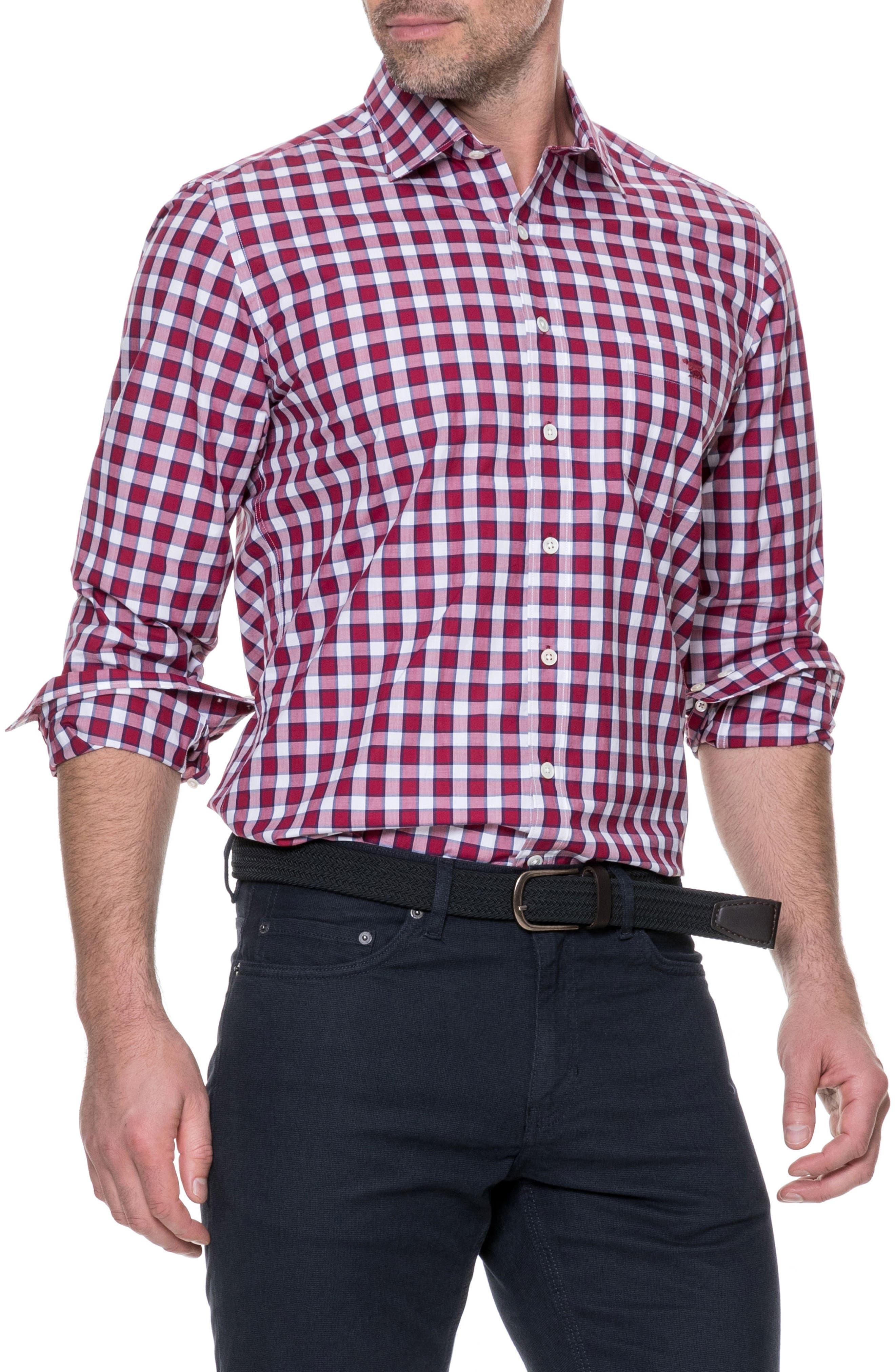 Cedarwood Regular Fit Sport Shirt,                         Main,                         color, Sangria