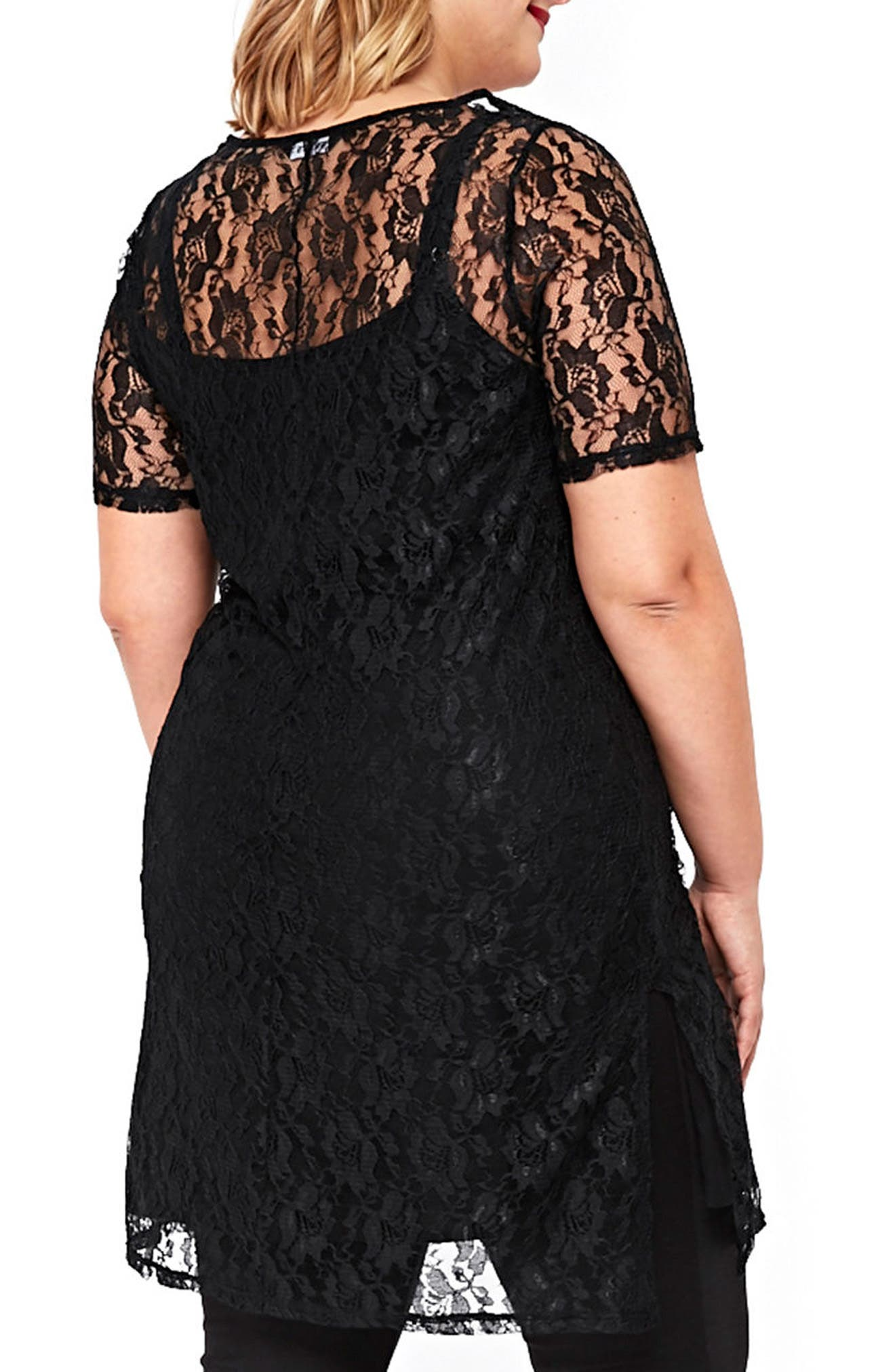 Alternate Image 2  - Evans Embroidered Lace Tunic (Plus Size)