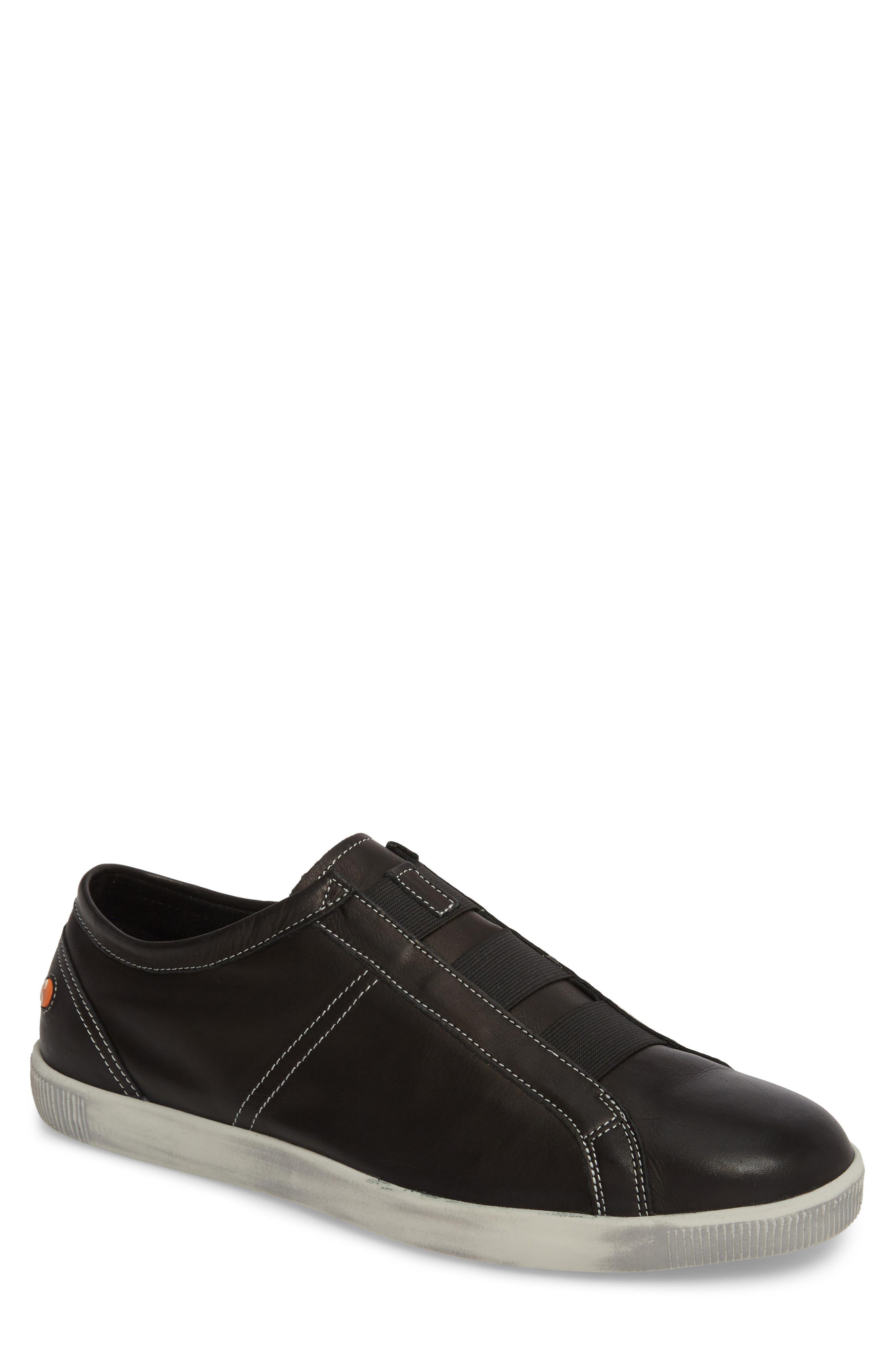 Tip Laceless Sneaker,                             Main thumbnail 1, color,                             Black Leather