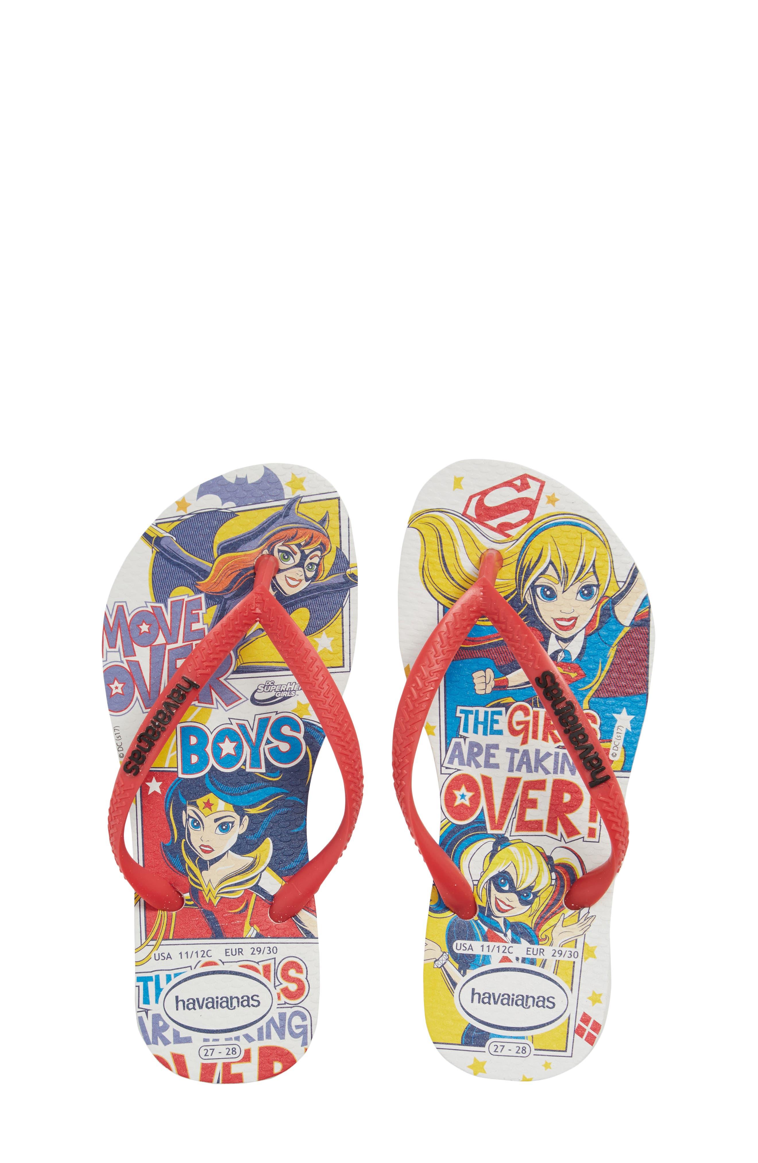 DC Comics Super Hero Girls Flip Flop,                         Main,                         color, White