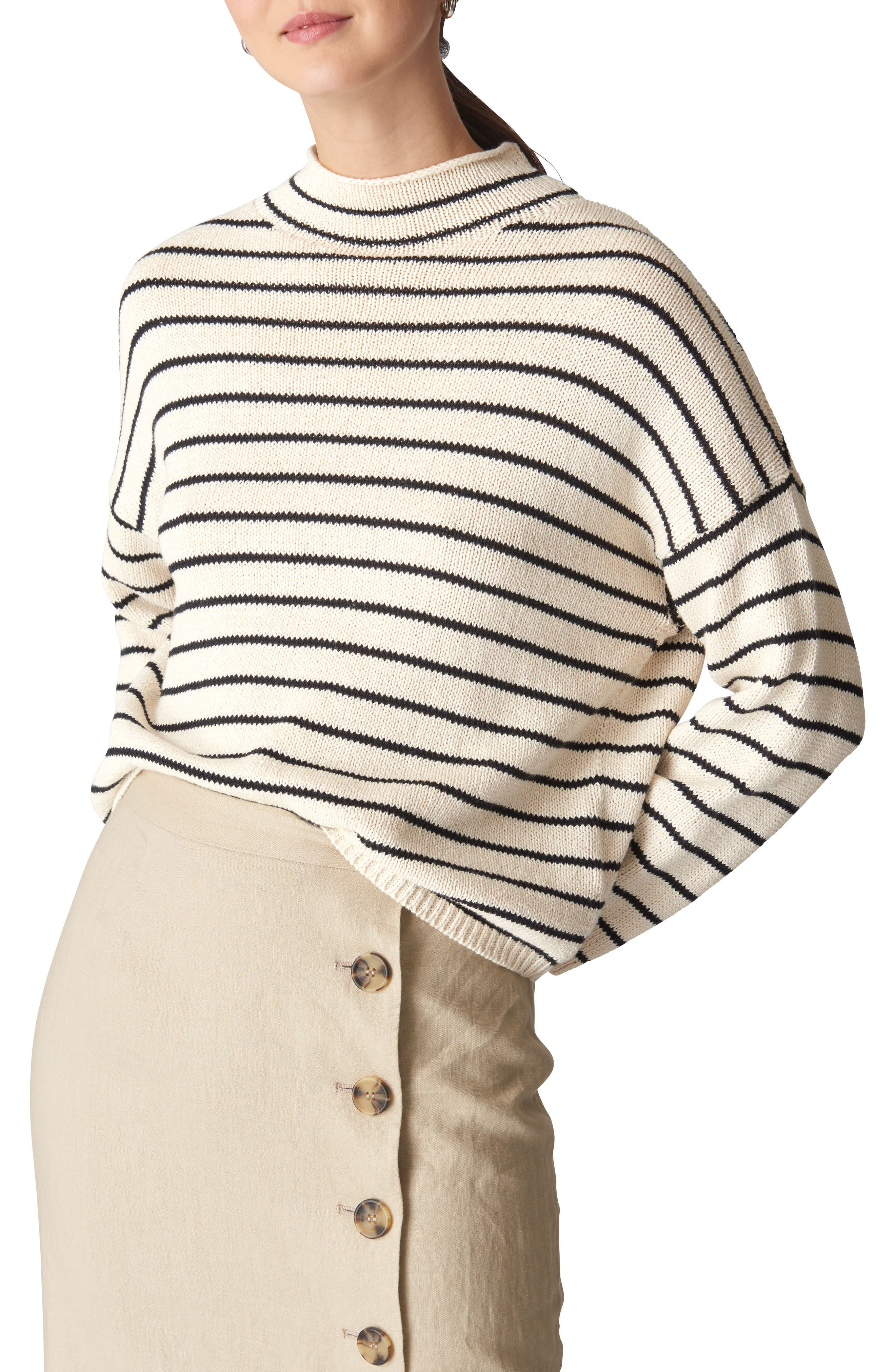 Whistles Fine Stripe Relaxed Sweater