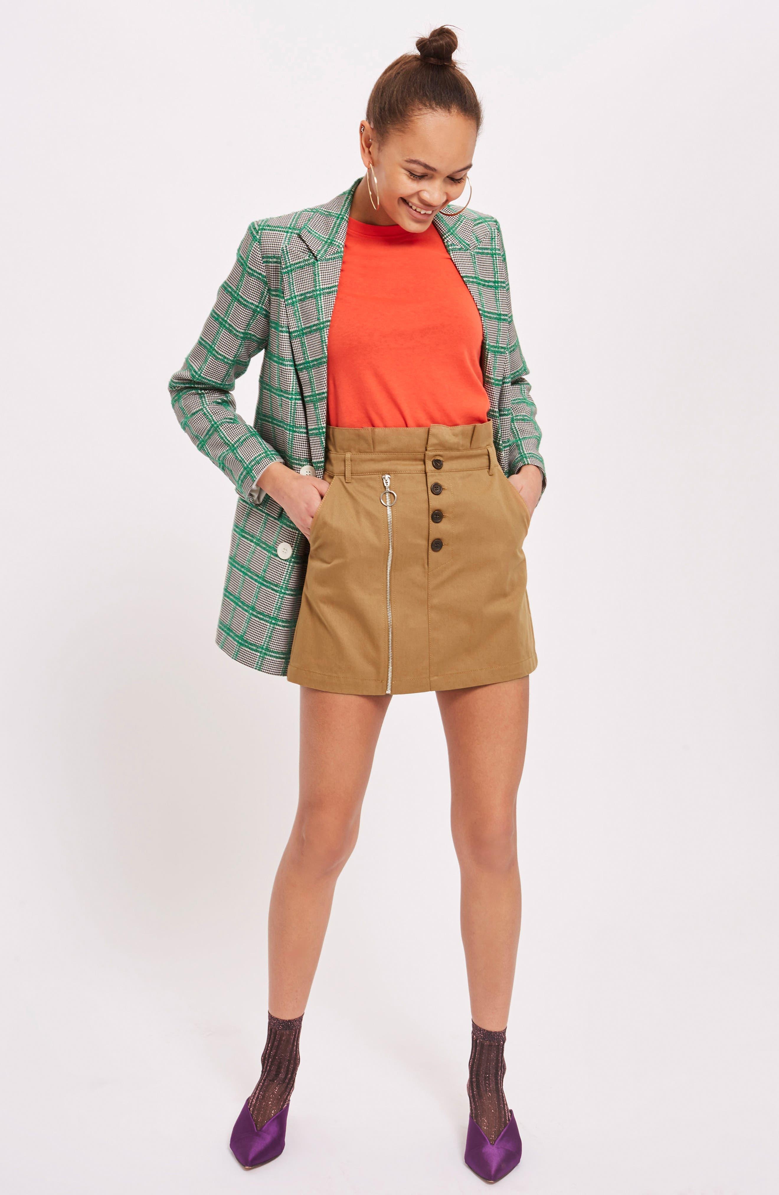 Utility Button Miniskirt,                             Alternate thumbnail 2, color,                             Camel