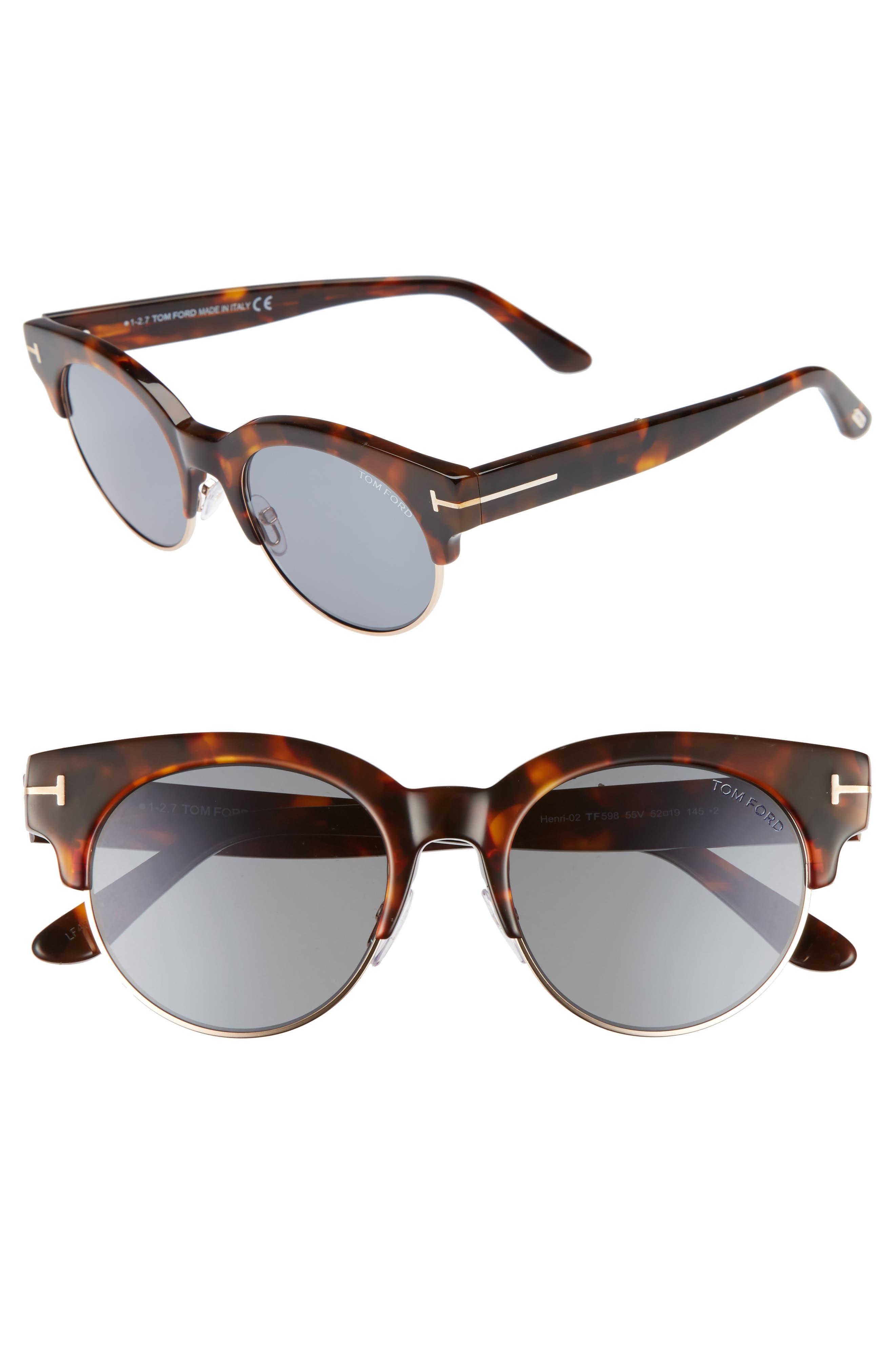 Tom Ford Henri 52mm Semi-Rimless Sunglasses