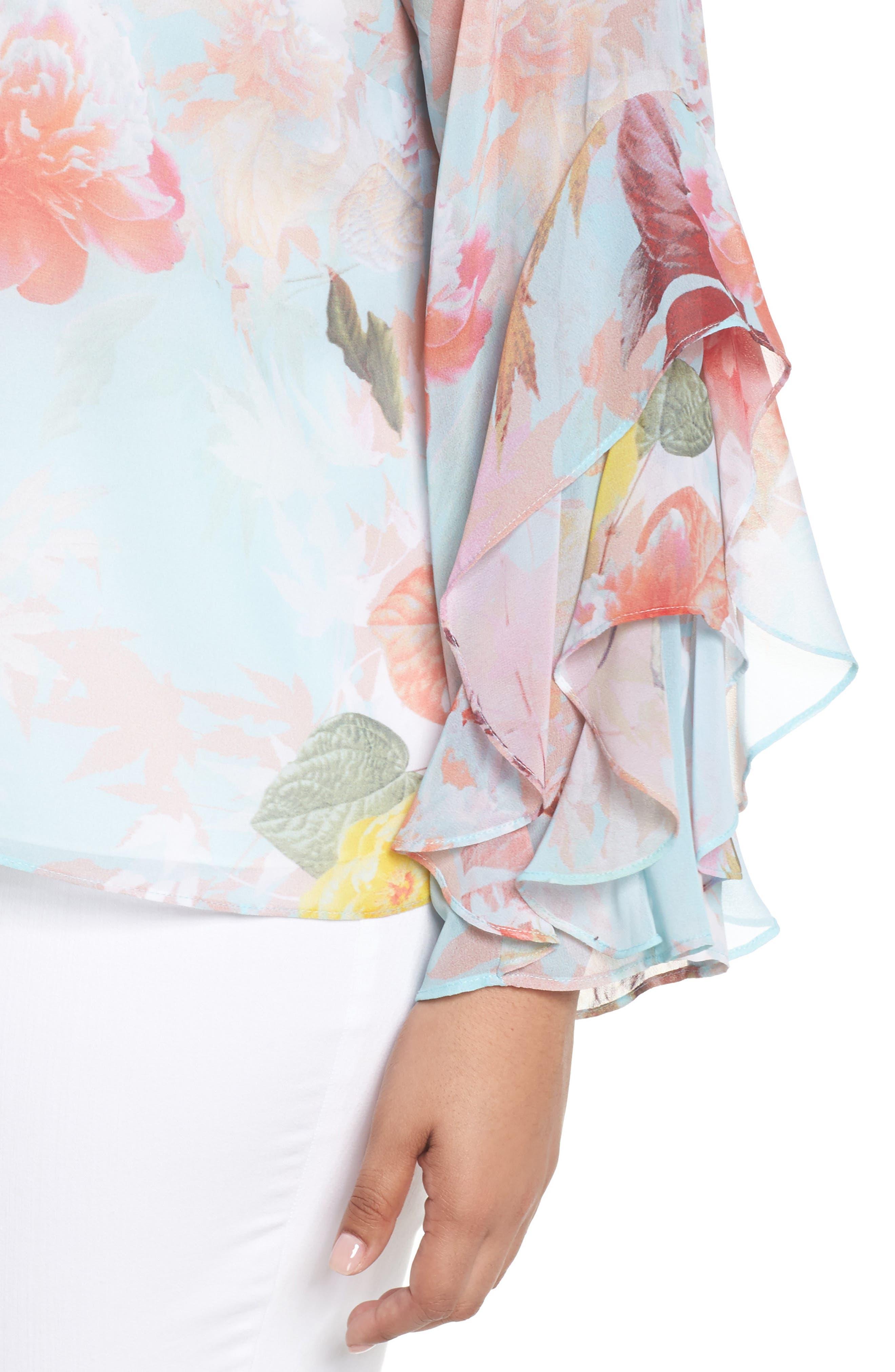 Faded Bloom Ruffle Sleeve Blouse,                             Alternate thumbnail 4, color,                             Aqua Glow