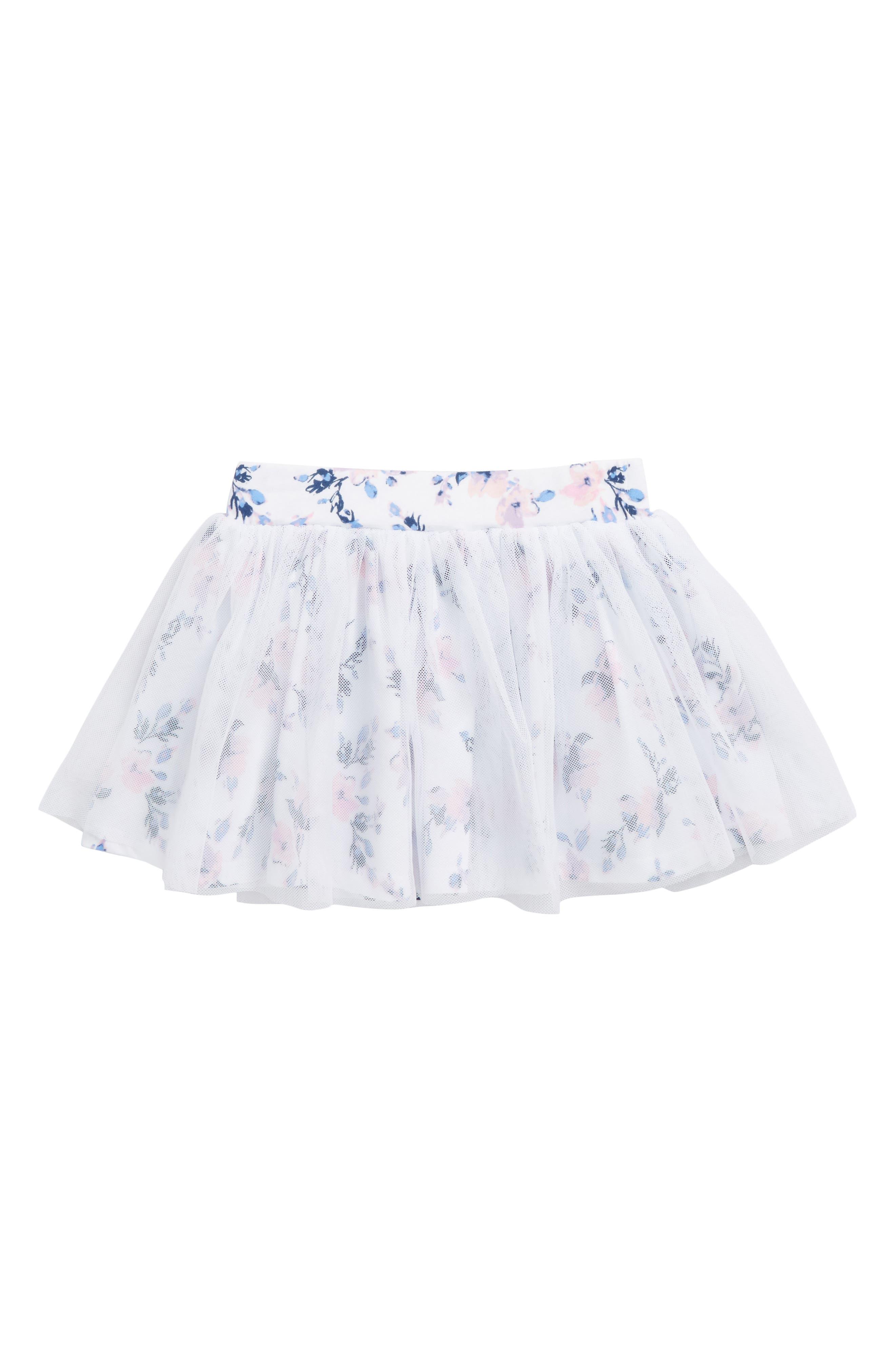 Flower Print Tutu Skirt,                         Main,                         color, Optic White