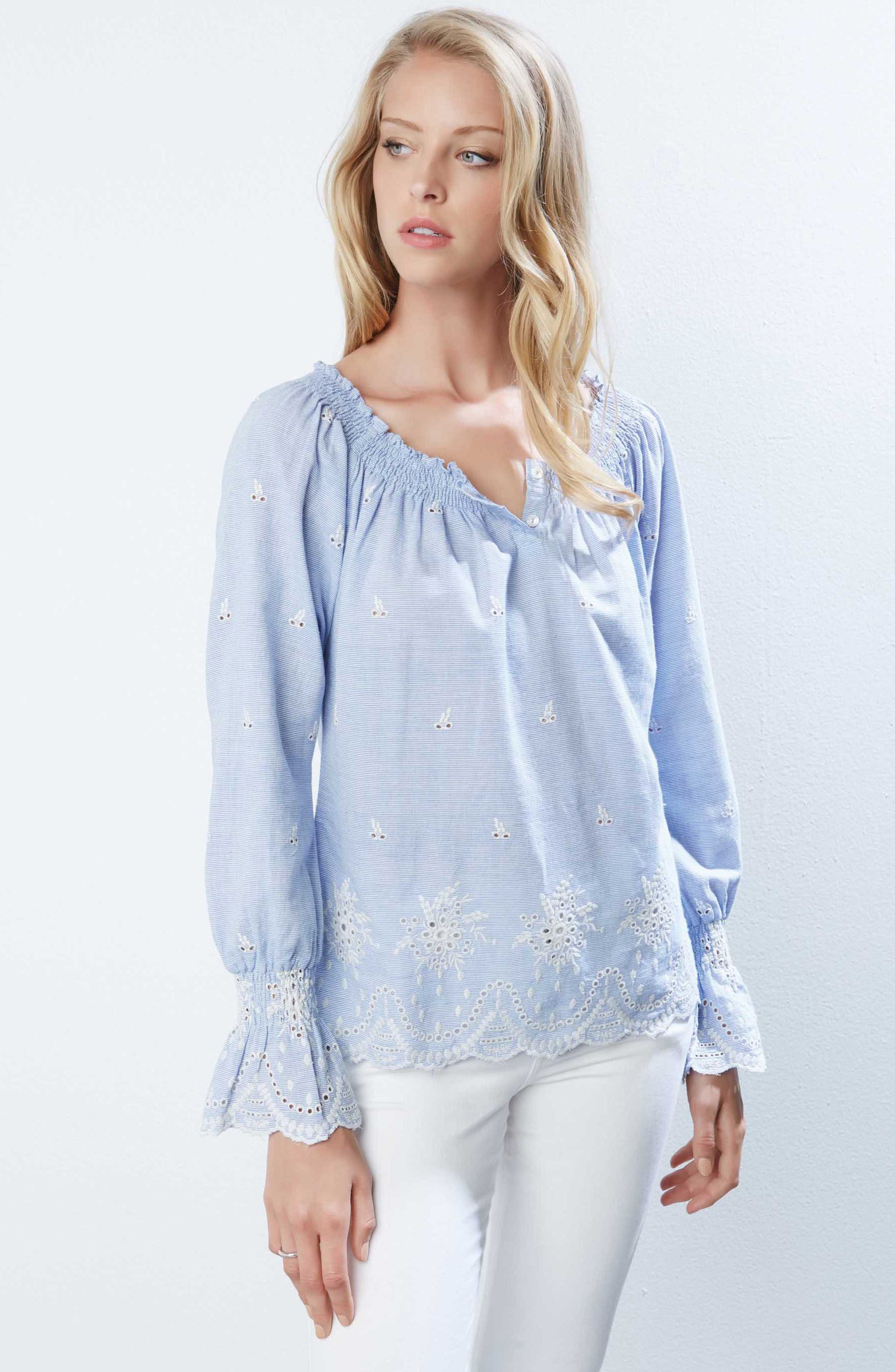 Bell Sleeve Embroidered Cotton Peasant Blouse,                             Alternate thumbnail 3, color,                             Striped