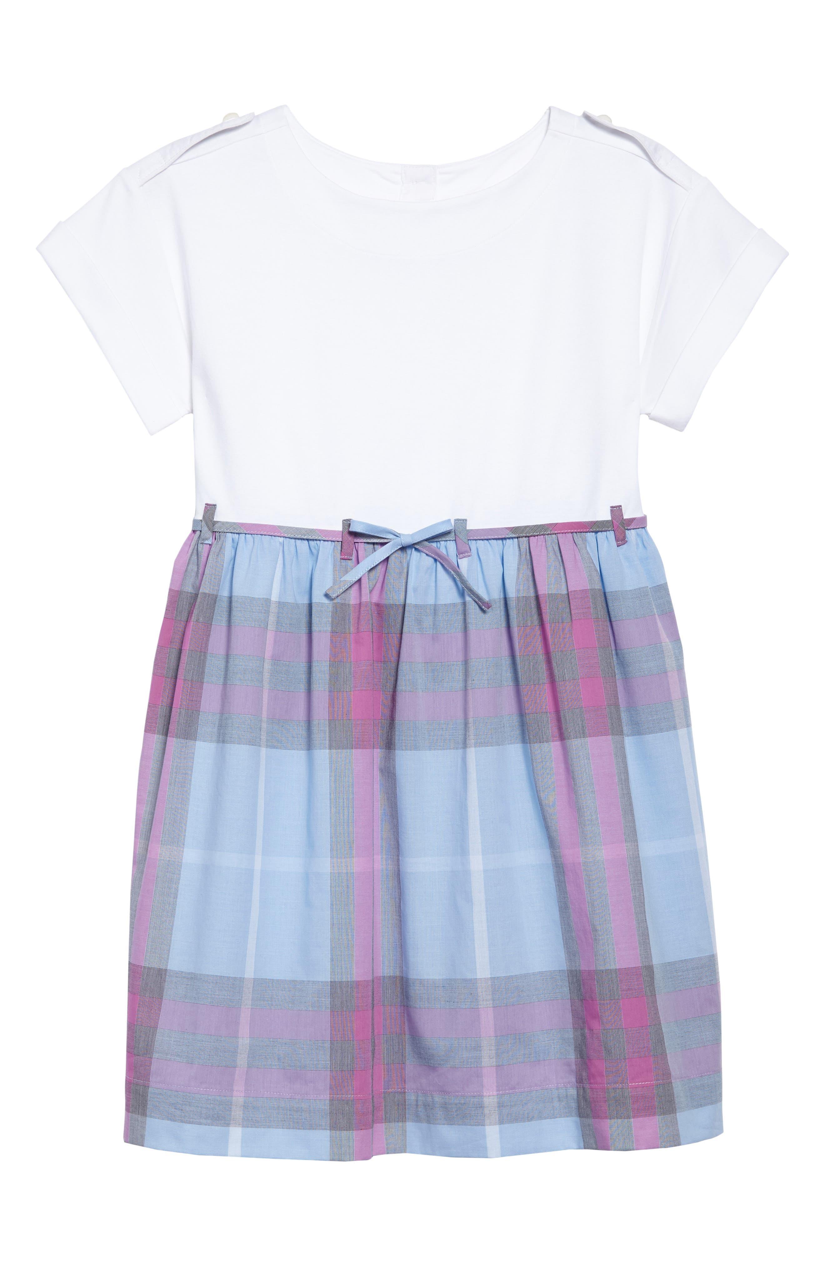 Alternate Image 1 Selected - Burberry Rhonda Check Dress (Little Girls & Big Girls)