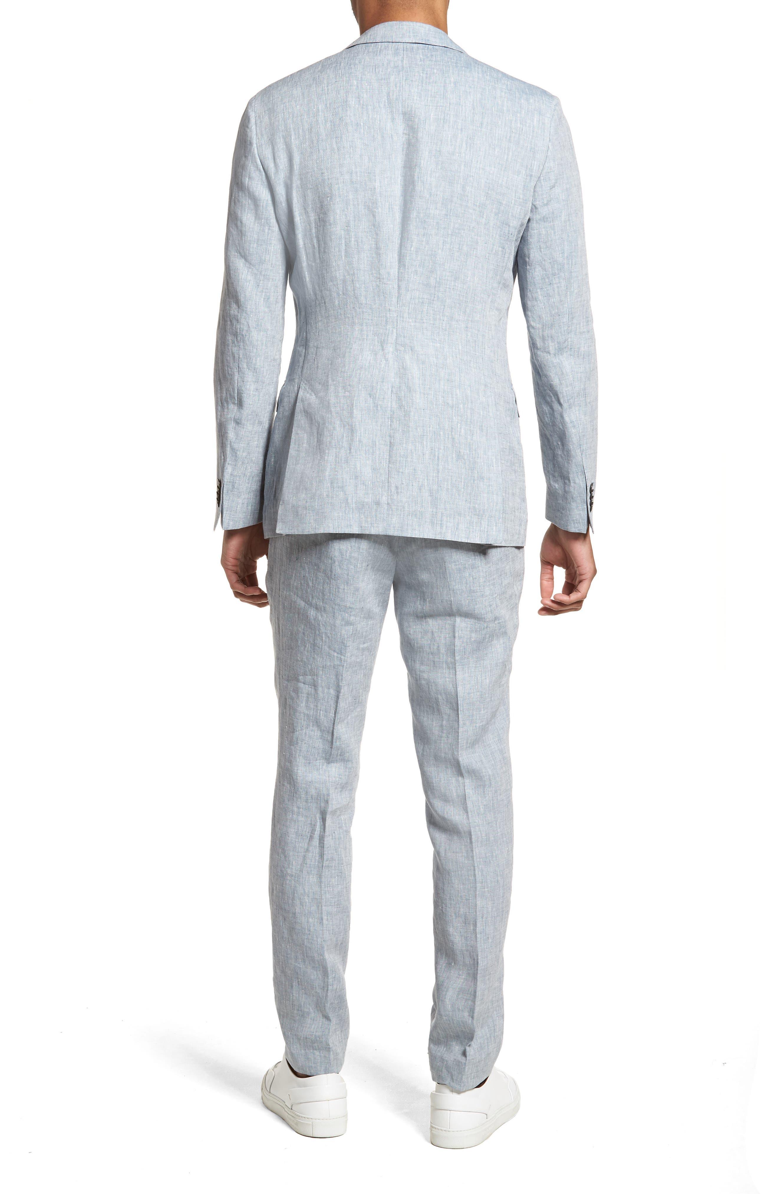 Helford/Gander Trim Fit Solid Linen Suit,                             Alternate thumbnail 2, color,                             Light Blue