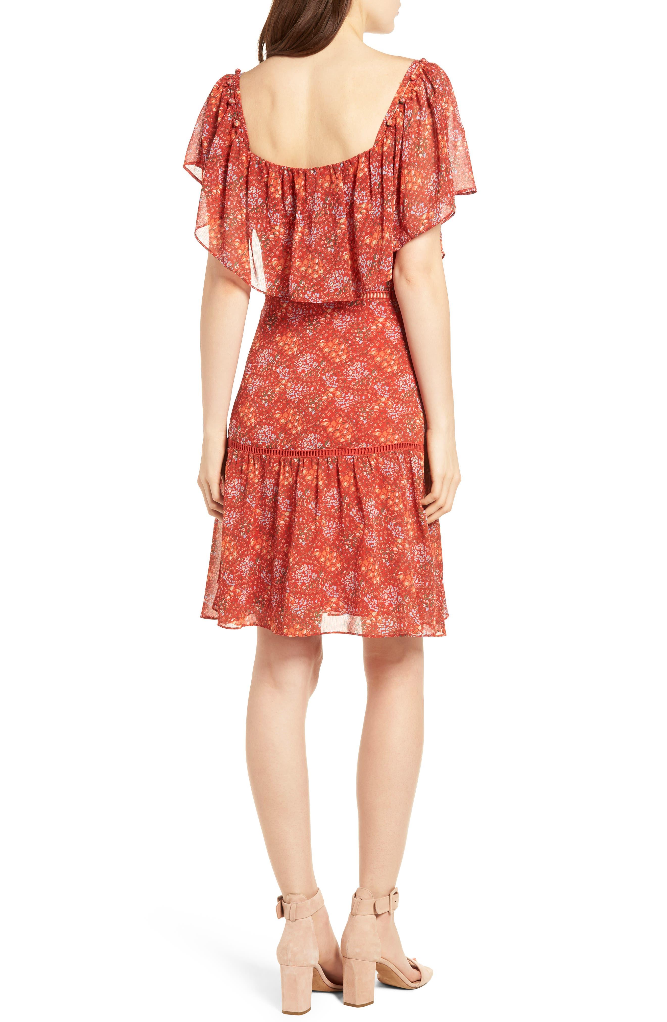 Lynne Chiffon Dress,                             Alternate thumbnail 2, color,                             Red Multi
