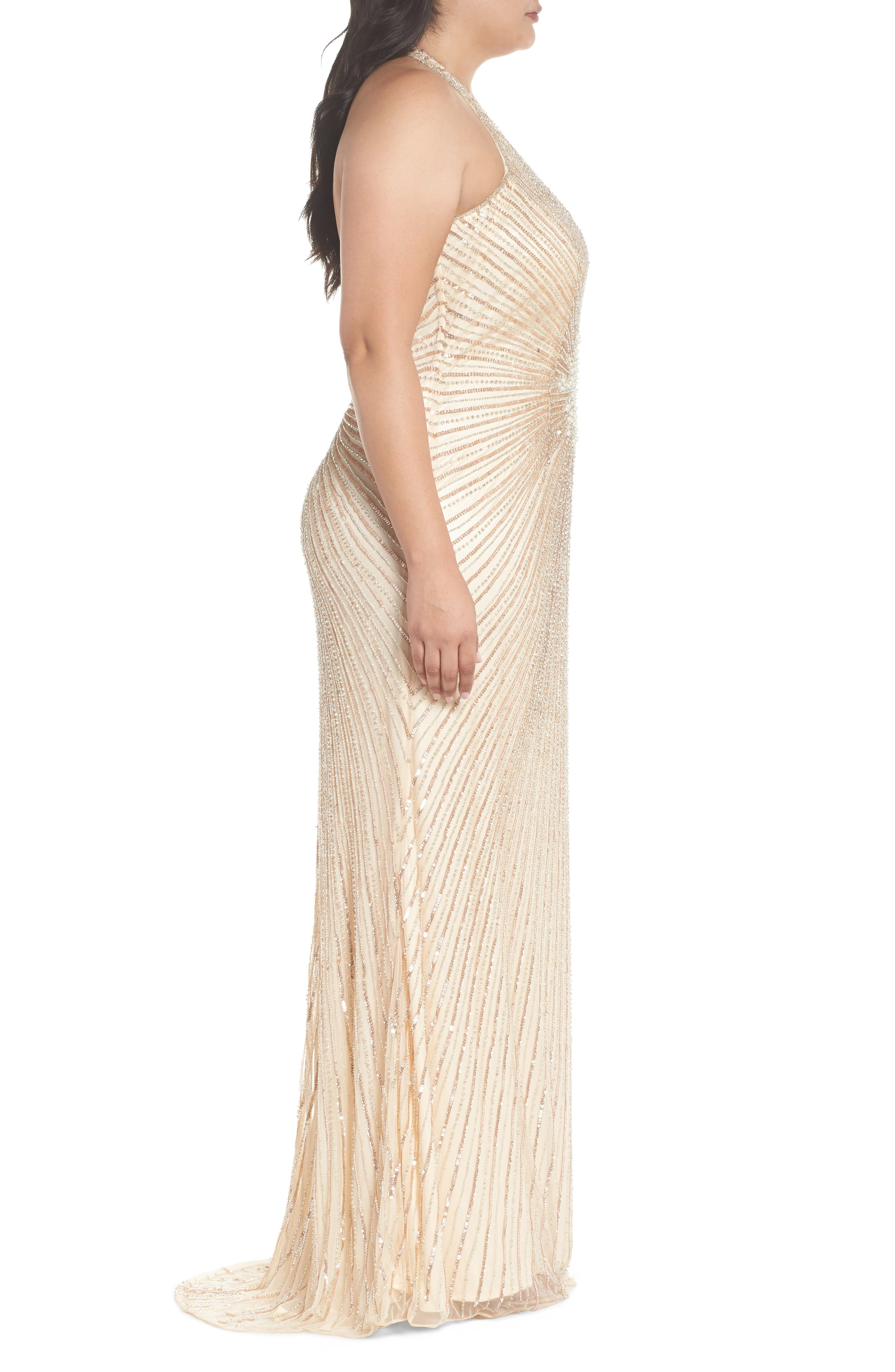 Sequin Halter Gown,                             Alternate thumbnail 3, color,                             Nude