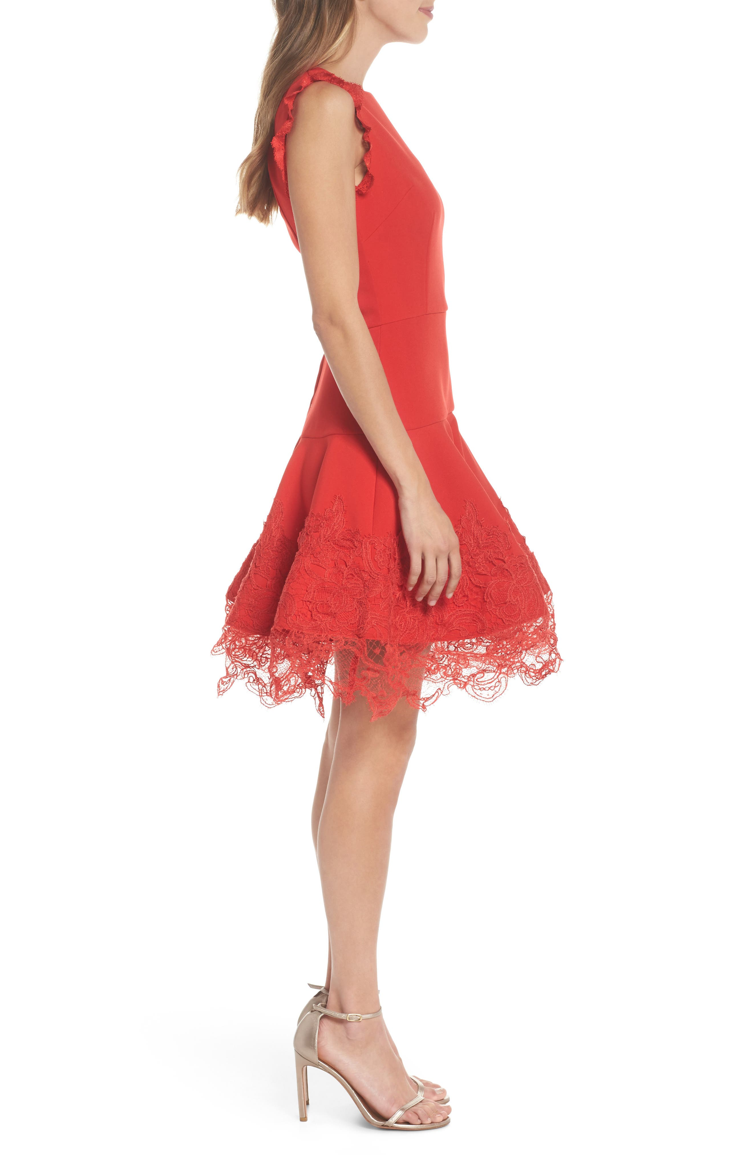 Antonia Fit & Flare Dress,                             Alternate thumbnail 3, color,                             Red