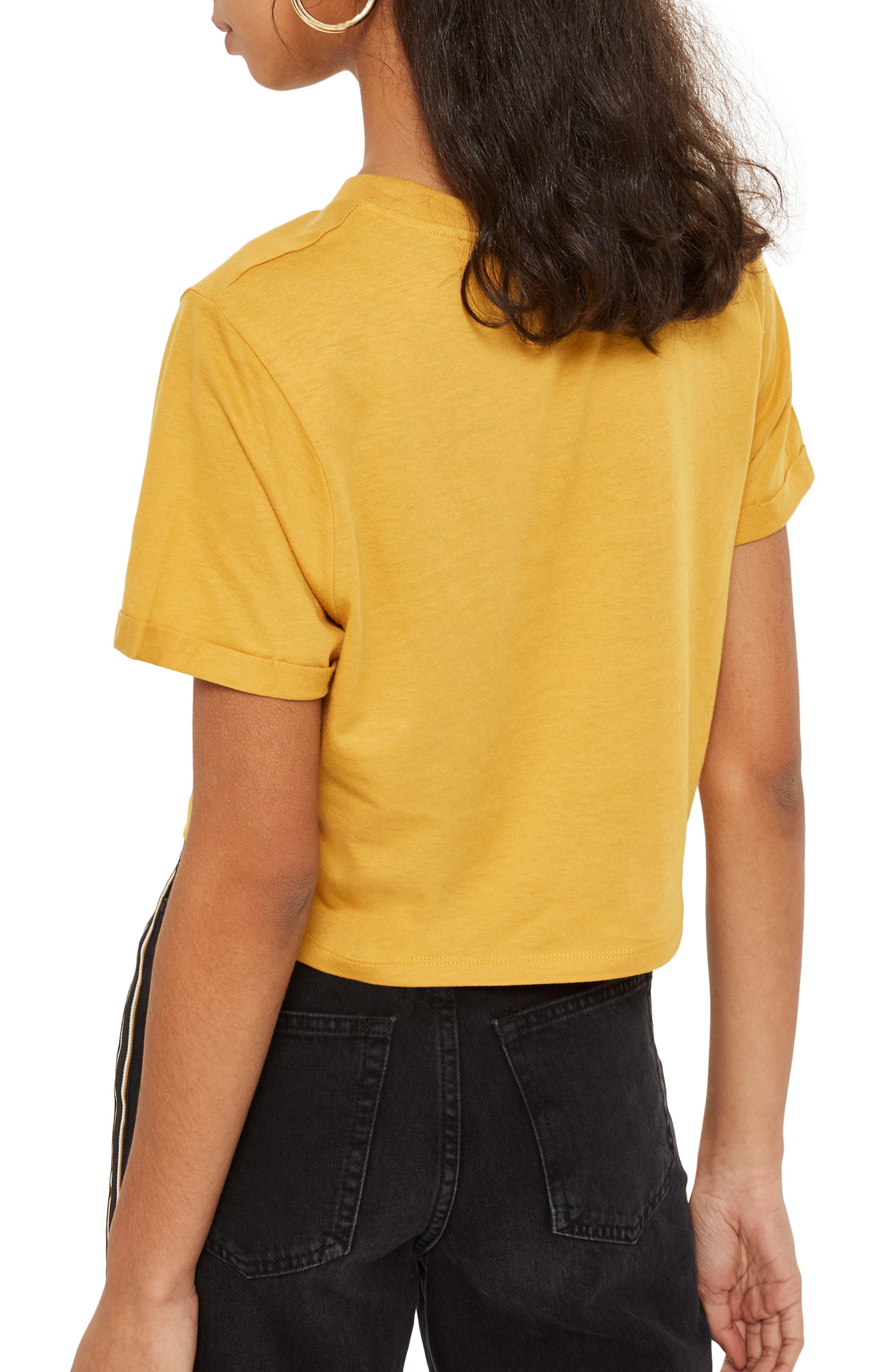 No Hard Feelings Crop T-Shirt,                             Alternate thumbnail 2, color,                             Mustard