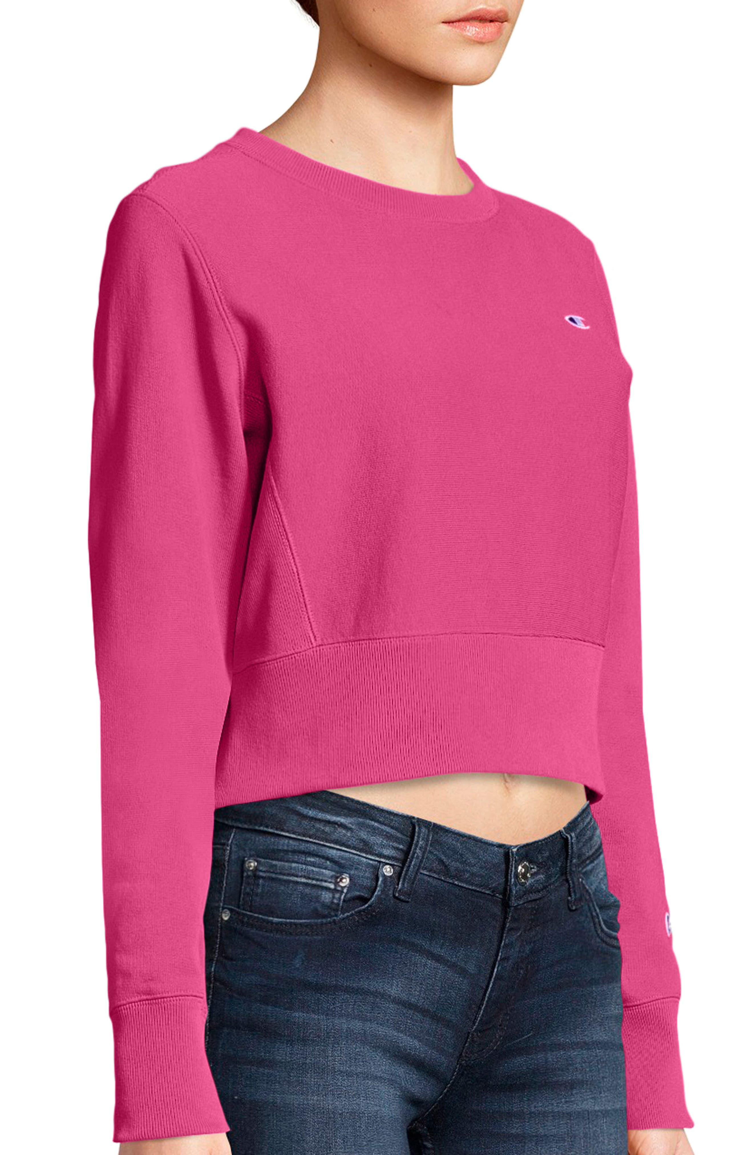 Reverse Weave Crop Sweatshirt,                             Alternate thumbnail 3, color,                             Pink